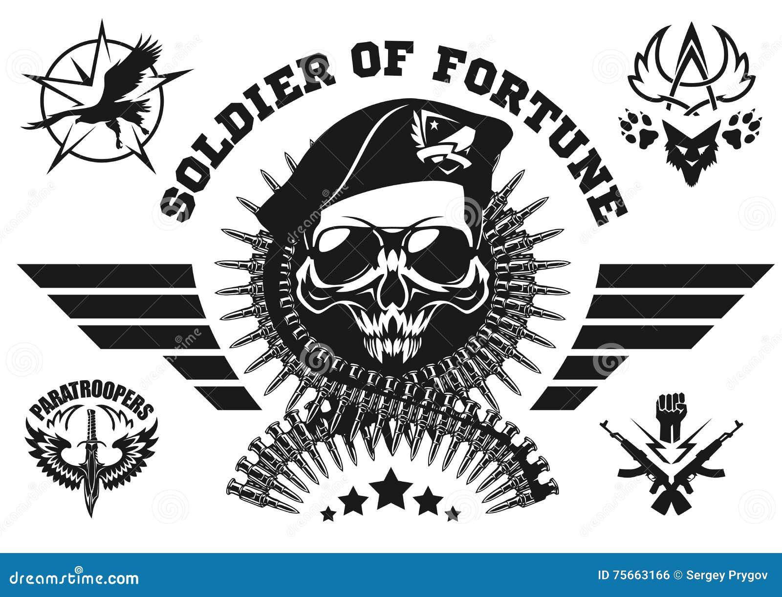 特种部队导航与头骨、弹药和翼的象征