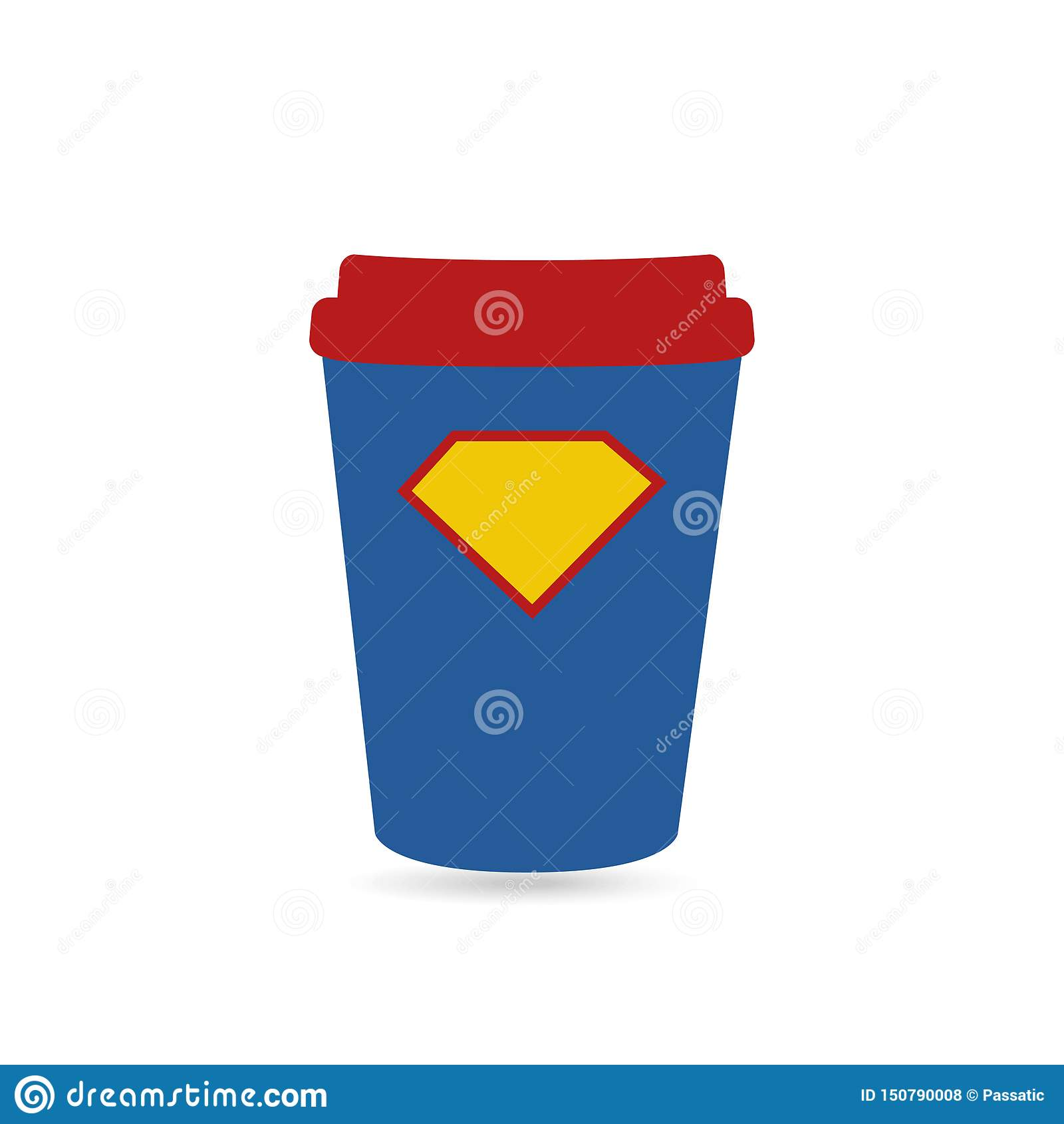 特级英雄力量杯子的超级咖啡