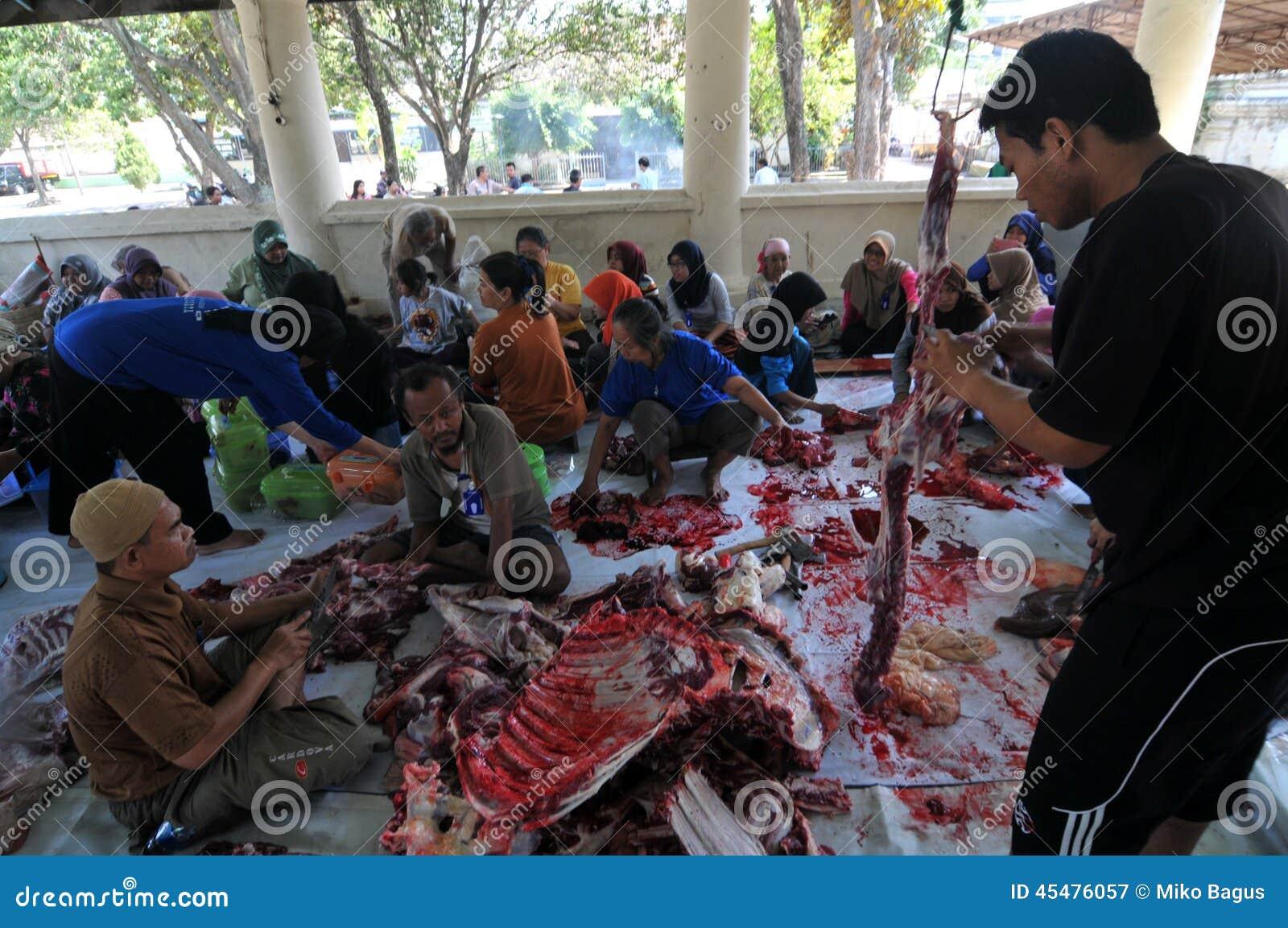 牺牲动物屠杀在Eid AlAdha庆祝期间的