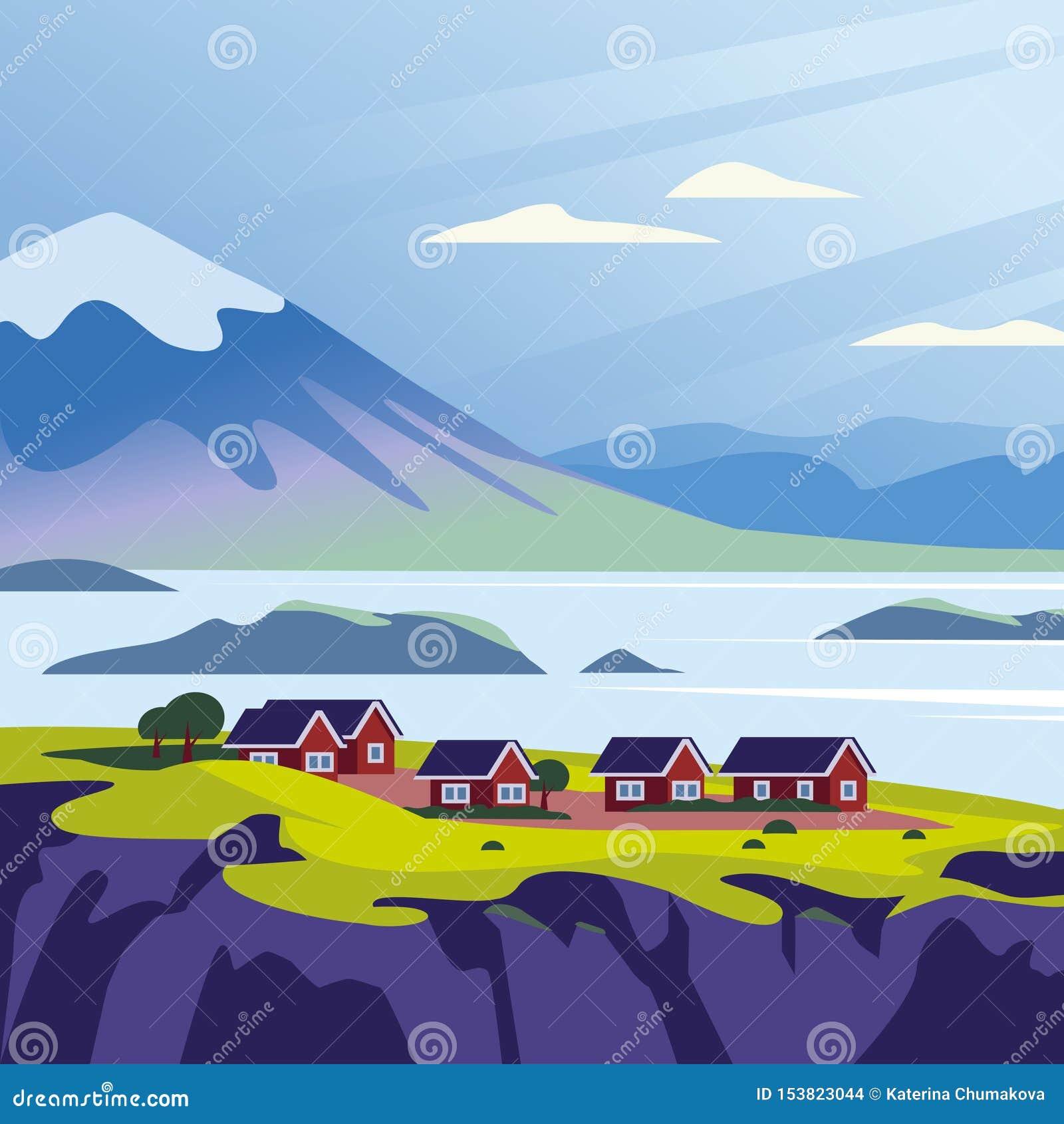 狂放的北欧自然视图的传染媒介平的风景minimalistic例证:天空,山,水,沿海的舒适房子