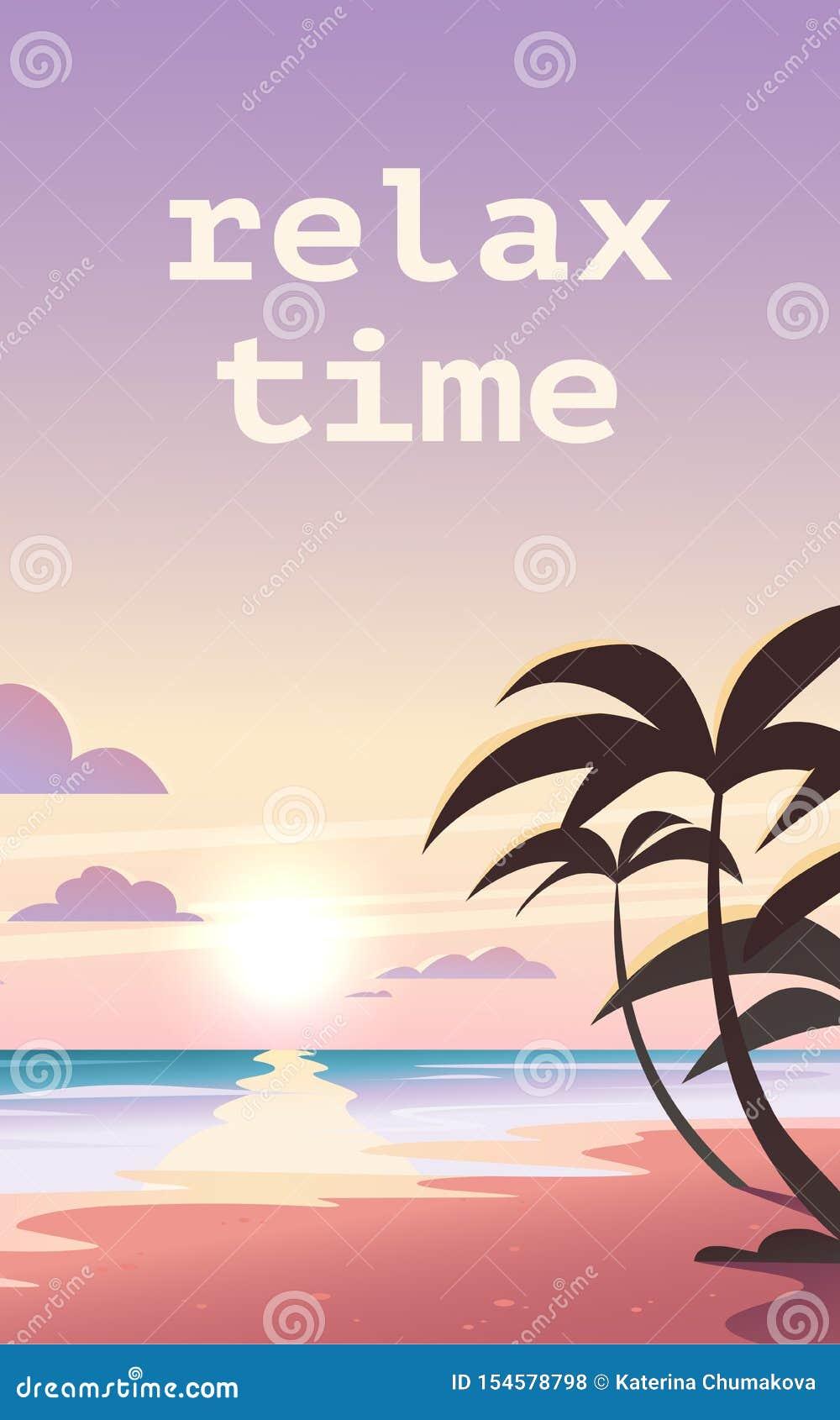 狂放的自然夏天日落的传染媒介平的风景例证在海滩视图的与天空,沿海,海洋,棕榈树
