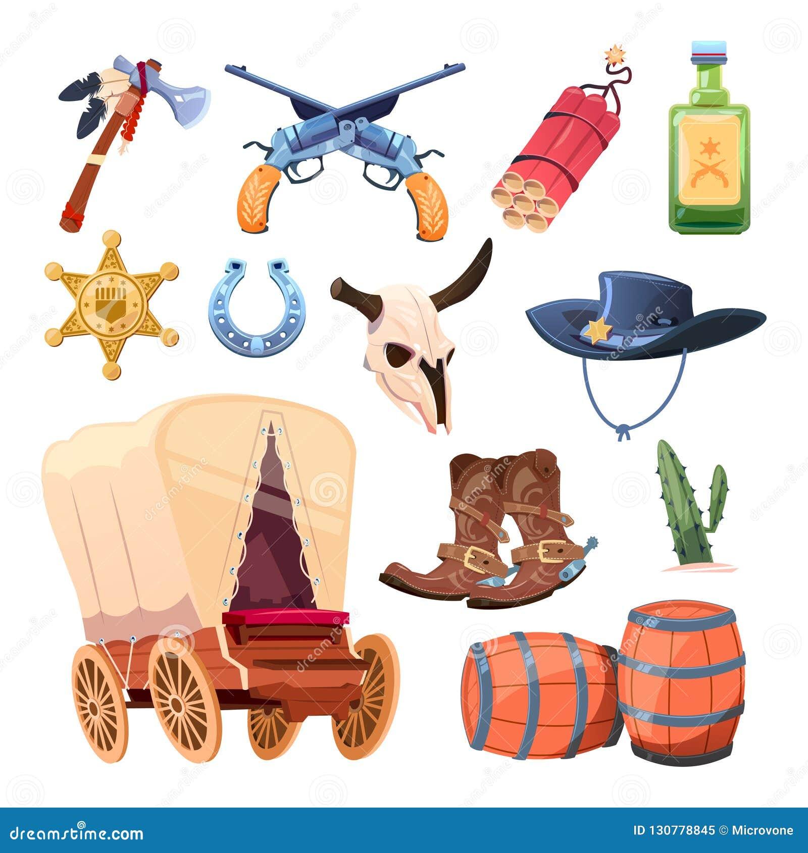 狂放的西部动画片集合 牛仔靴、帽子和枪 公牛头骨,印第安战斧,饮料,在白色隔绝的点心花