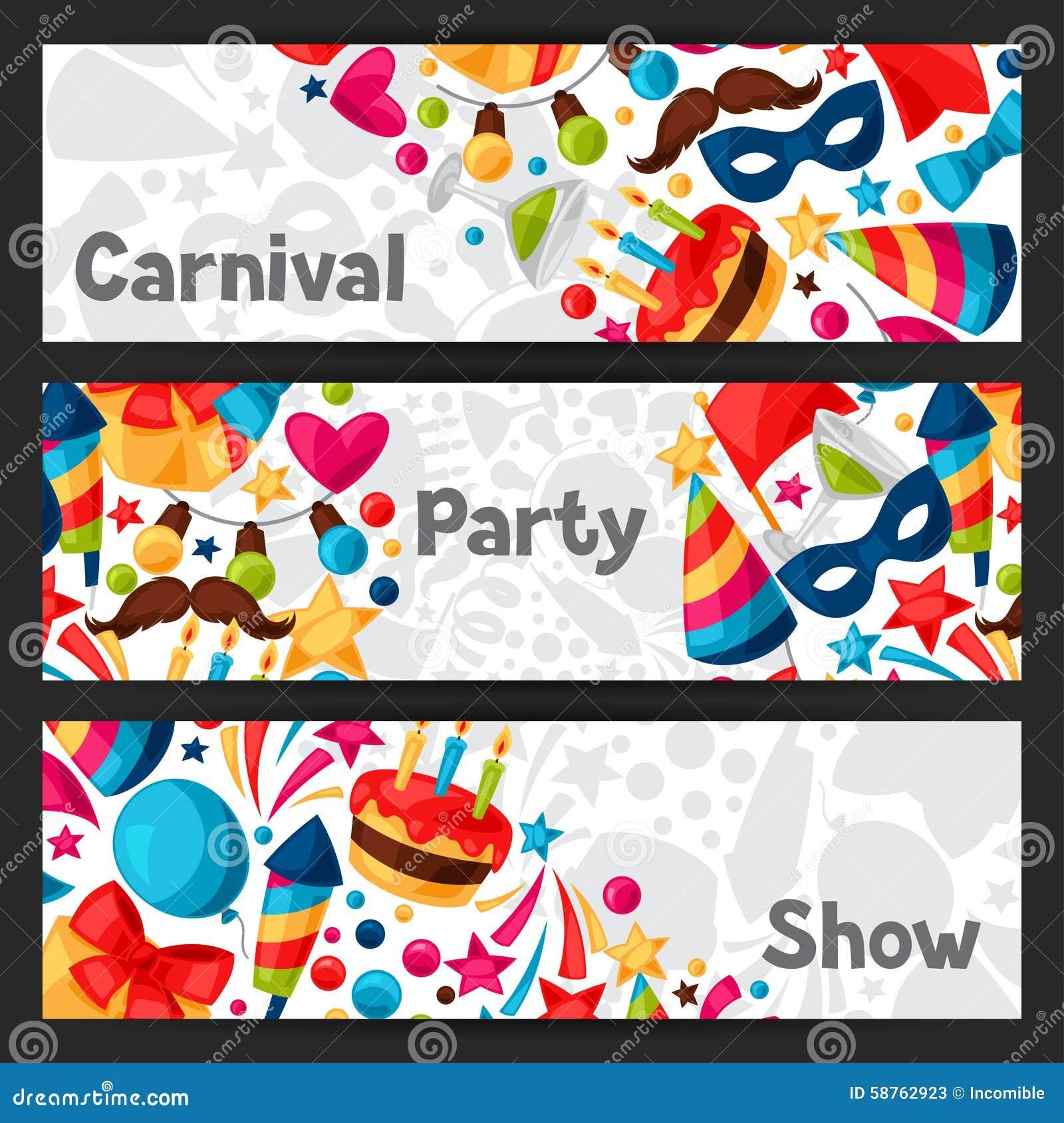 狂欢节与庆祝的展示和党横幅