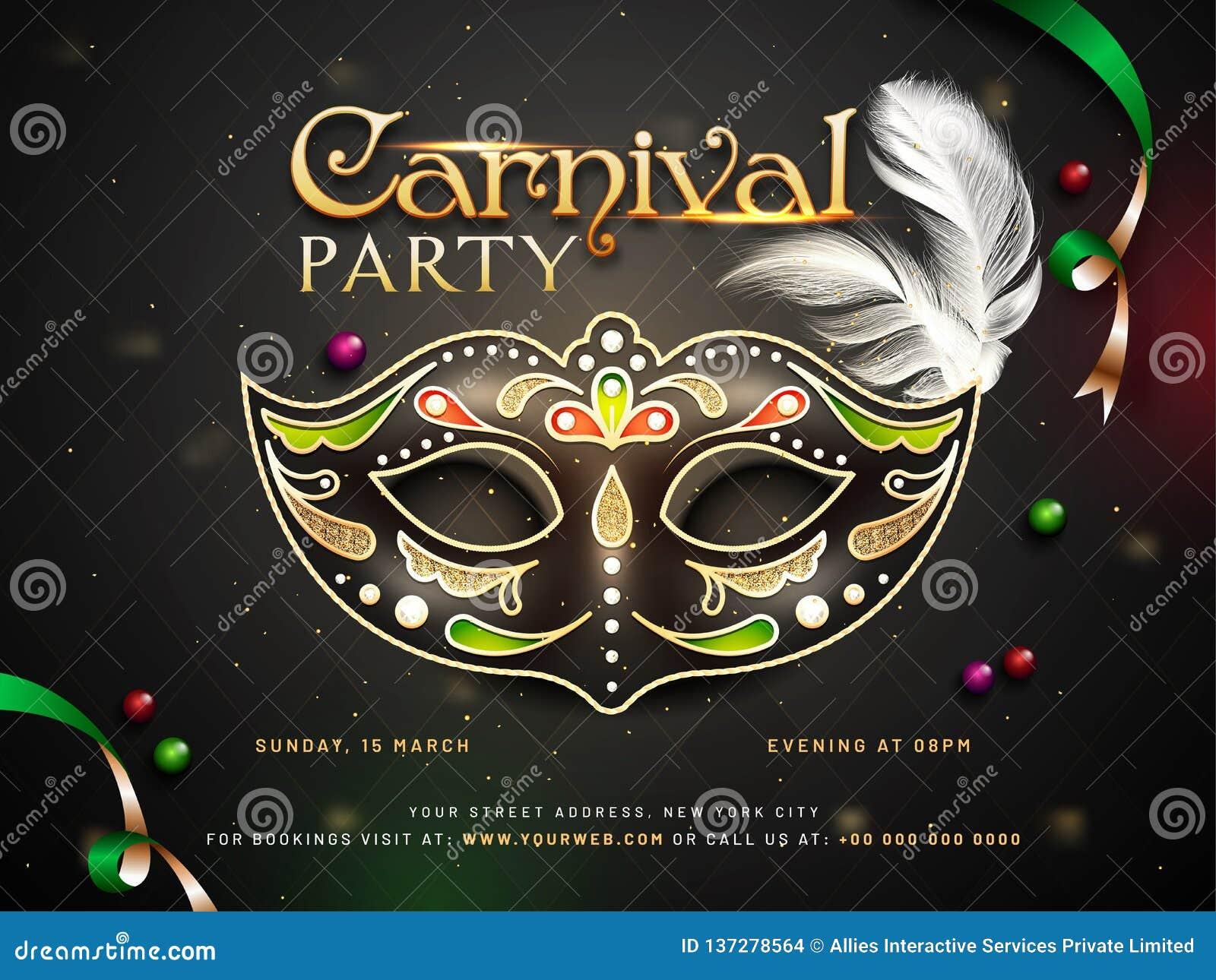 狂欢节党与装饰面具和时间,地点细节的海报或模板设计