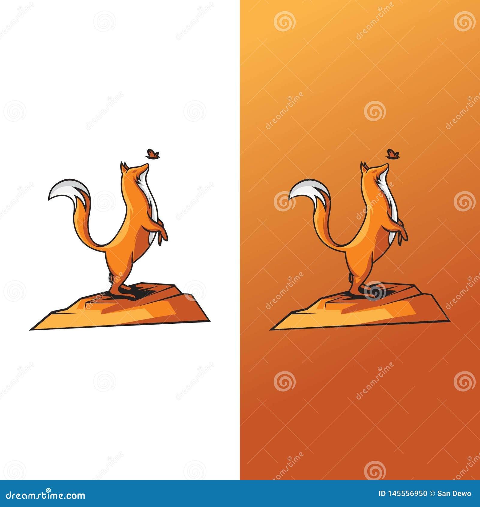 狐狸和蝴蝶的例证