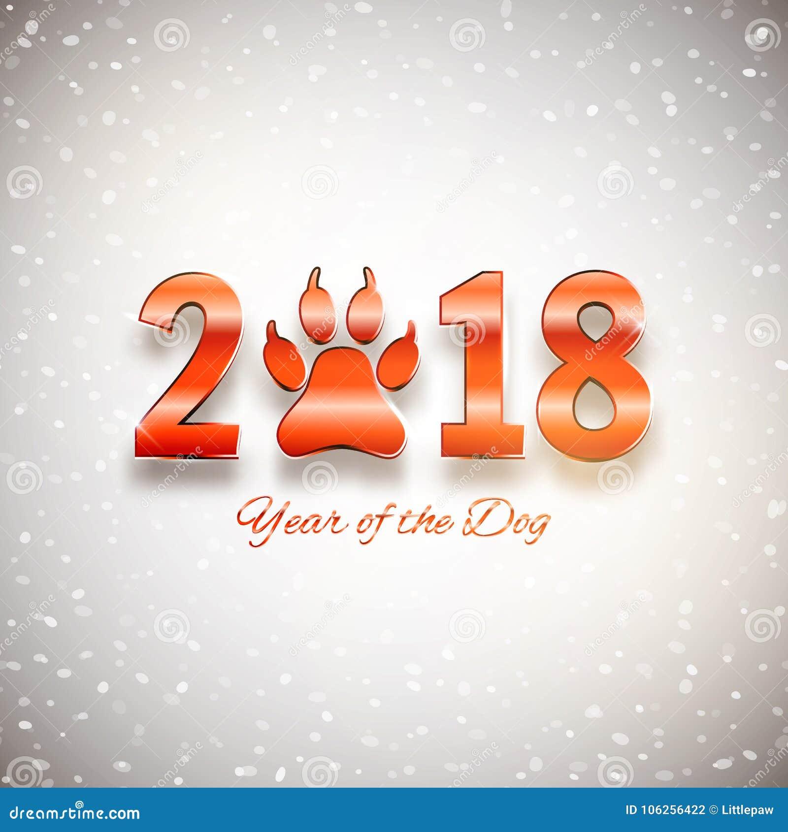 狗假日明信片的新年与爪子脚印的,传染媒介