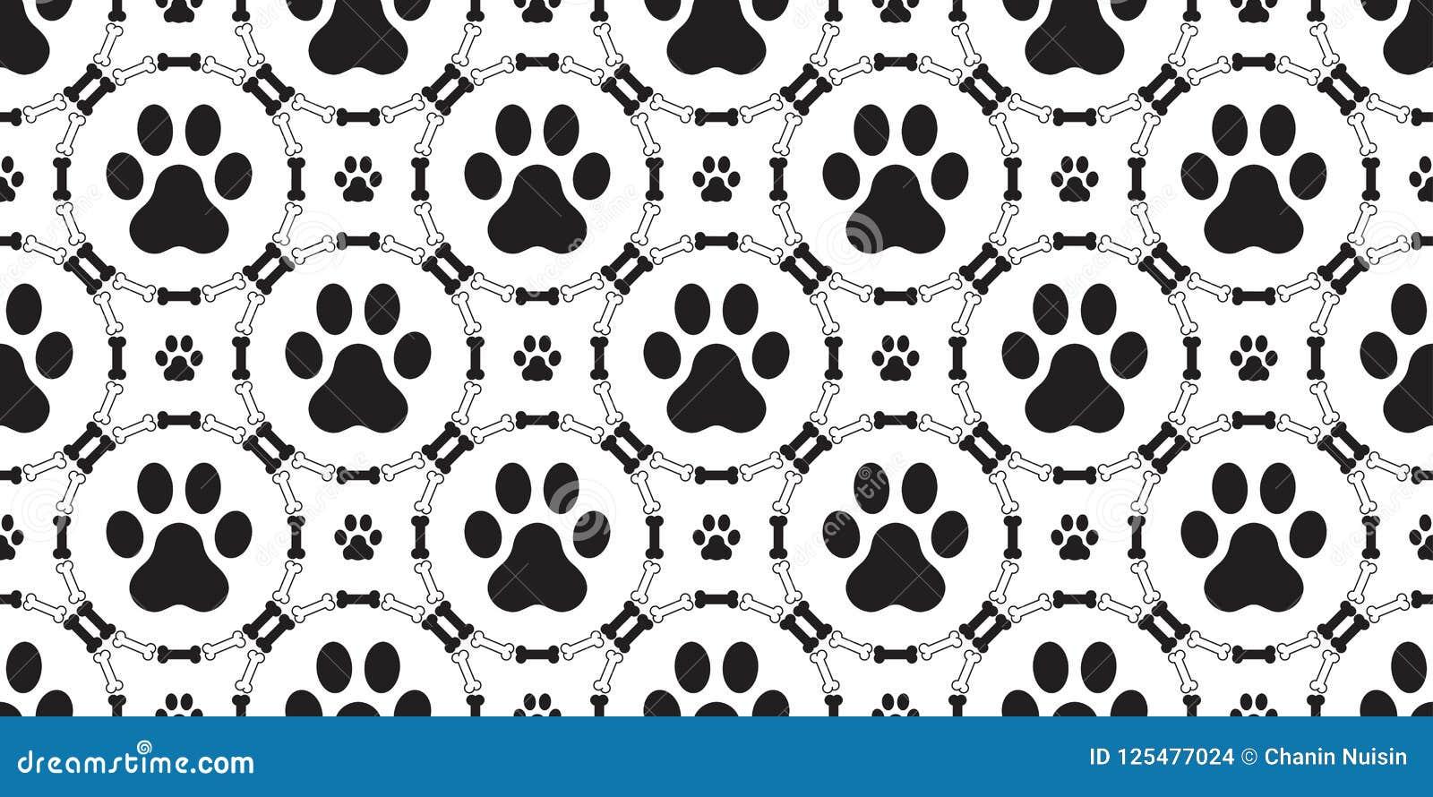 狗爪子无缝的样式传染媒介隔绝了狗骨头小狗猫重复背景墙纸