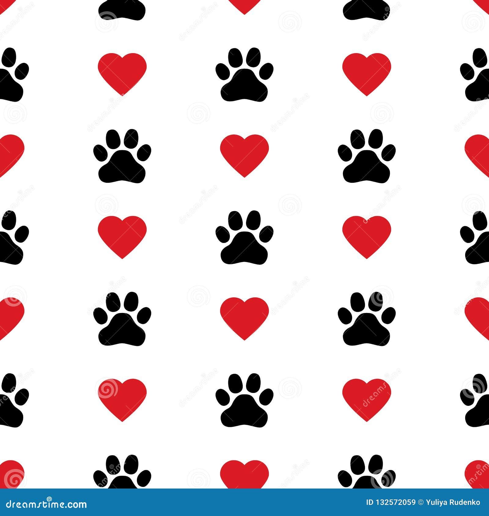 狗爪子猫爪子心脏爱小狗脚印刷品小猫华伦泰传染媒介无缝的样式