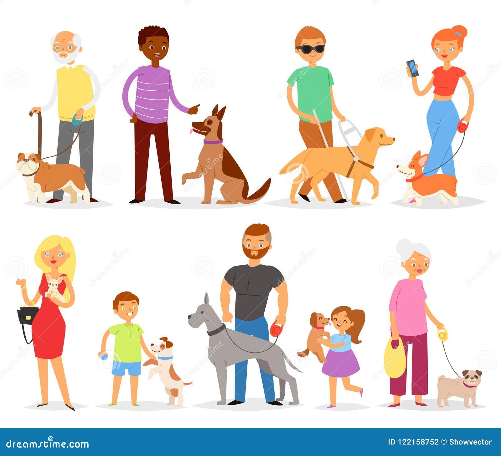 狗饲养有宠物和妇女或者人狗交配动物者的传染媒介人有狗或小狗例证狗一样套的孩子