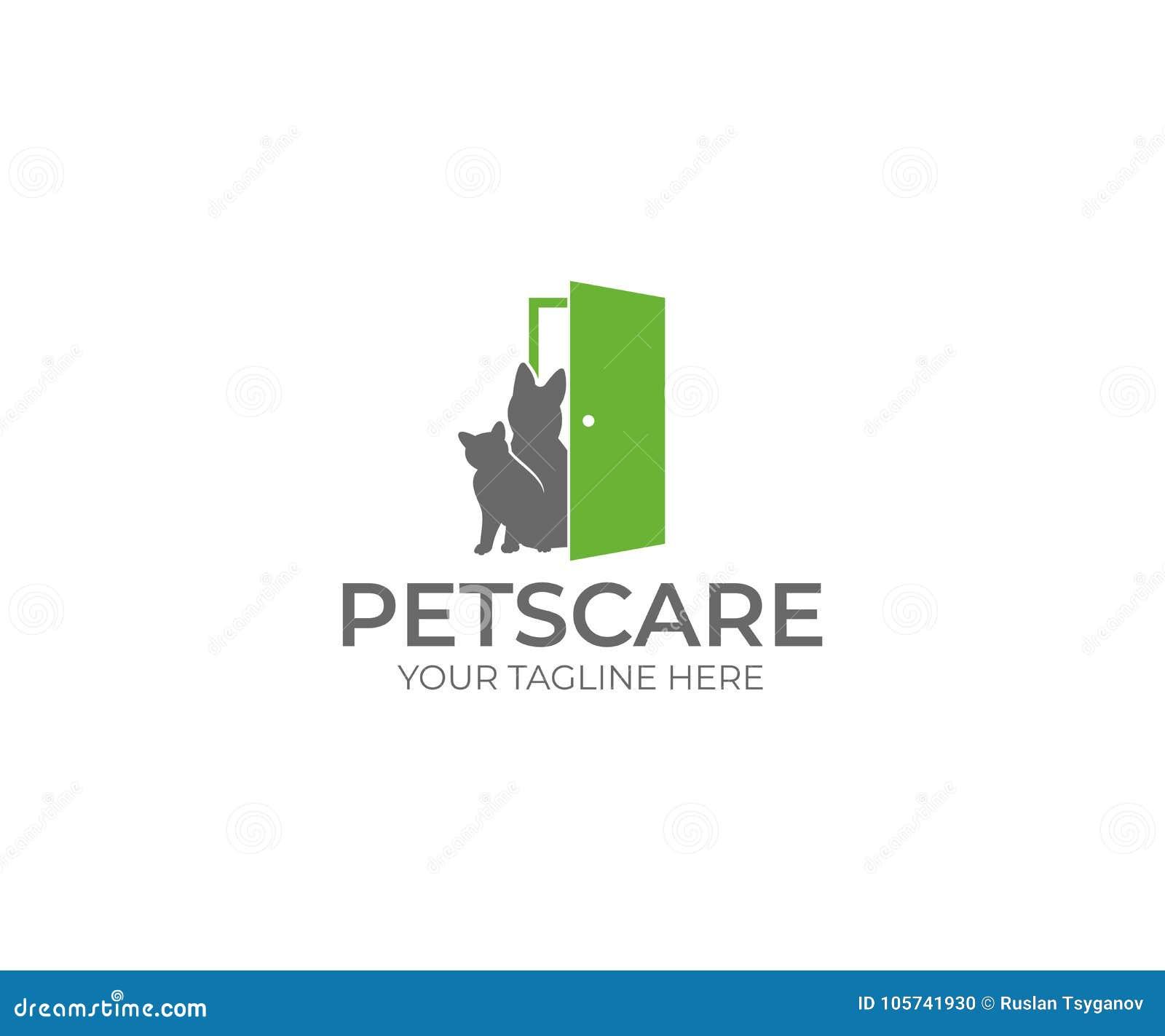 狗&猫关心商标模板 宠物传染媒介设计