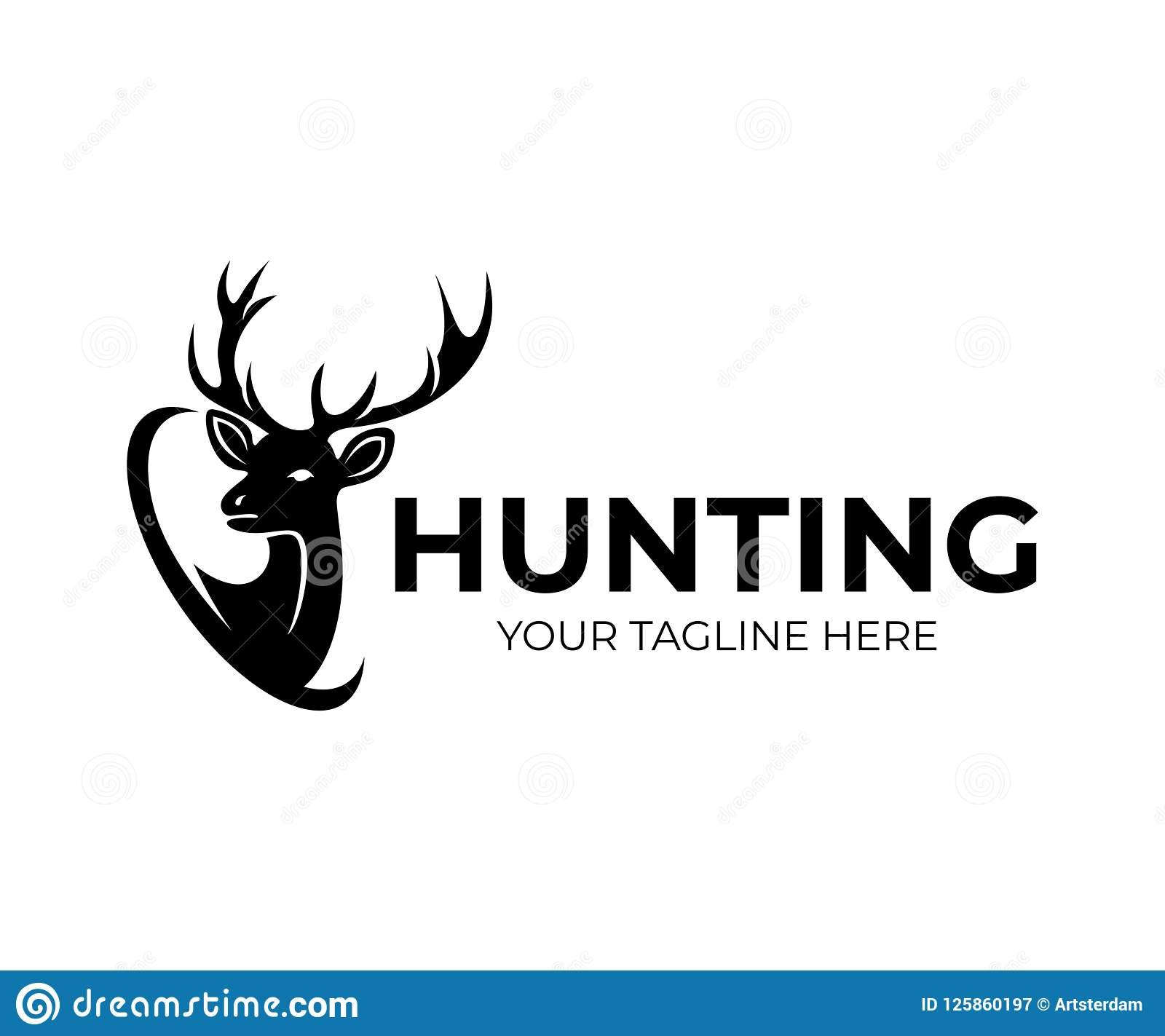 狩猎和鹿与垫铁,商标设计 自然和野生生物,传染媒介设计