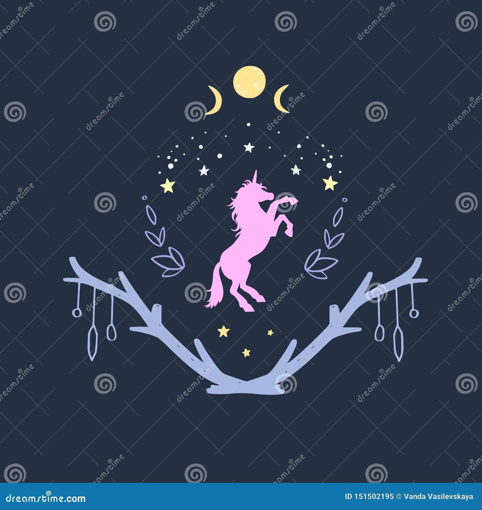 独角兽与满天星斗的天空和月亮的夜 幻想样式,不可思议的森林梦想概念性例证,纹身花刺