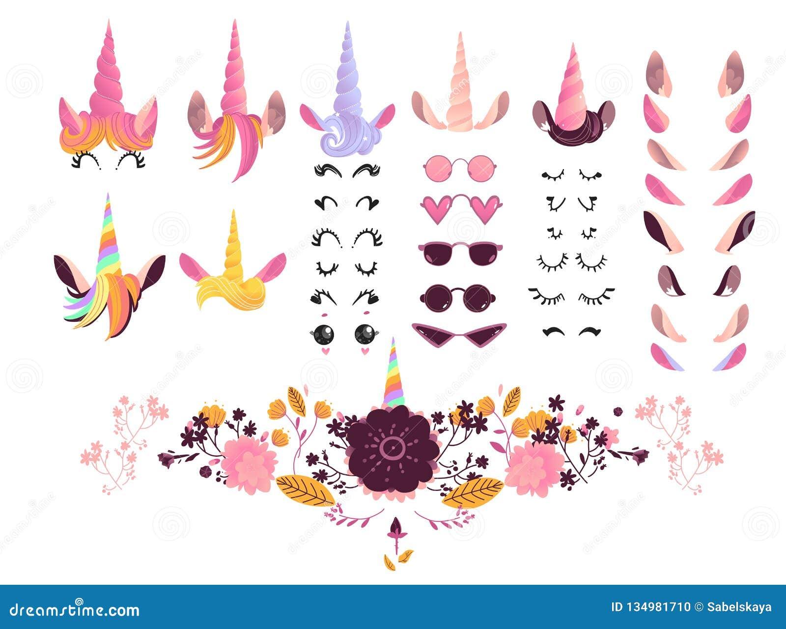 独角兽面孔创作成套工具传染媒介例证-不可思议的神仙的动物的创作的动画片元素