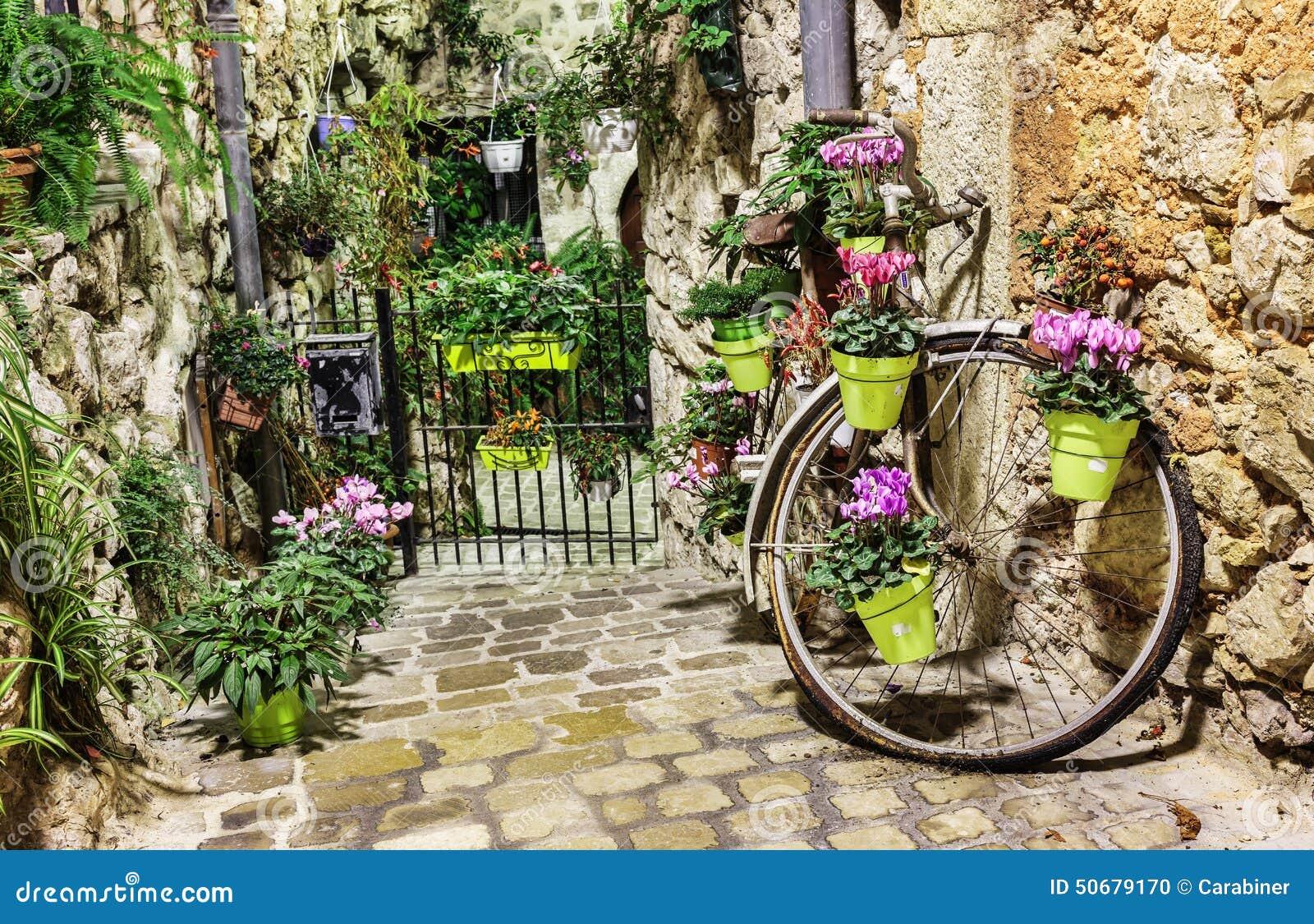 Download 狭窄有花的被修补的街道 库存照片. 图片 包括有 法国, 拱道, 鹅卵石, ardra, 村庄, 欧洲, 葡萄酒 - 50679170