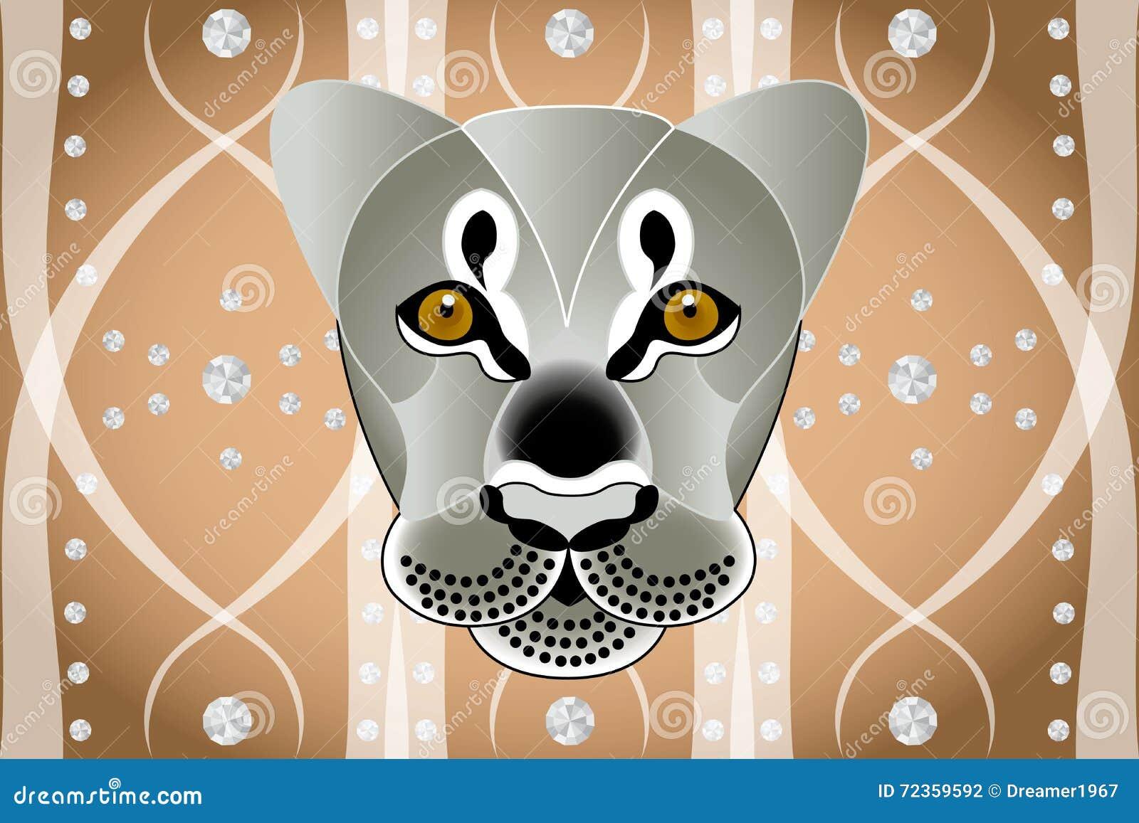 狮子在抽象图表背景面对