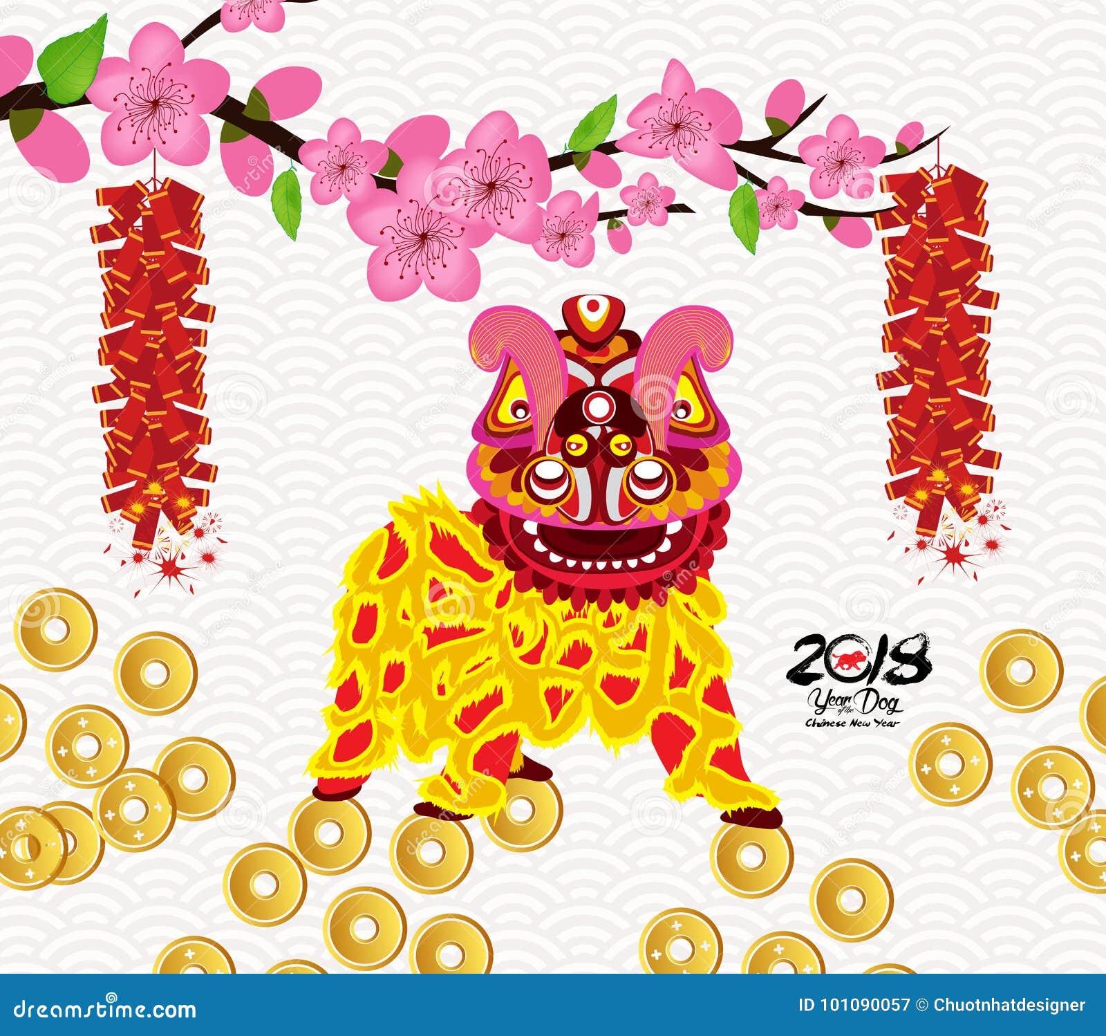狮子跳舞和春节与爆竹