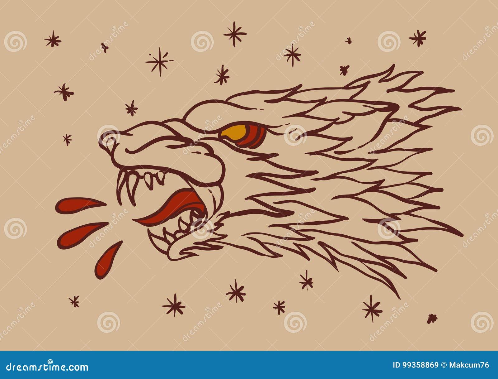 狼顶头纹身花刺