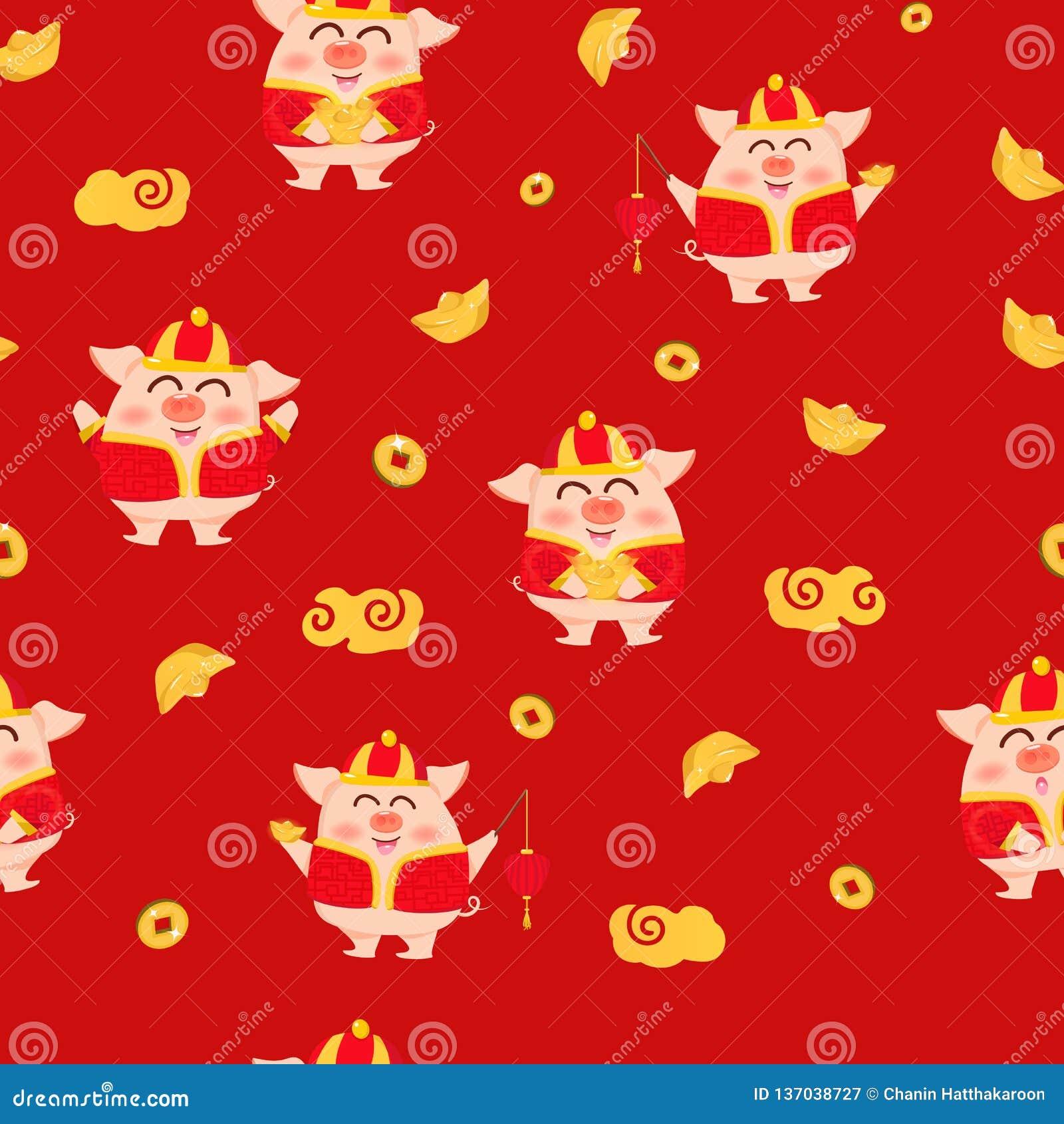 猪、金子、灯笼、灯和金钱,农历新年,2019年,逗人喜爱的卡通人物红色纹理背景传染媒介例证