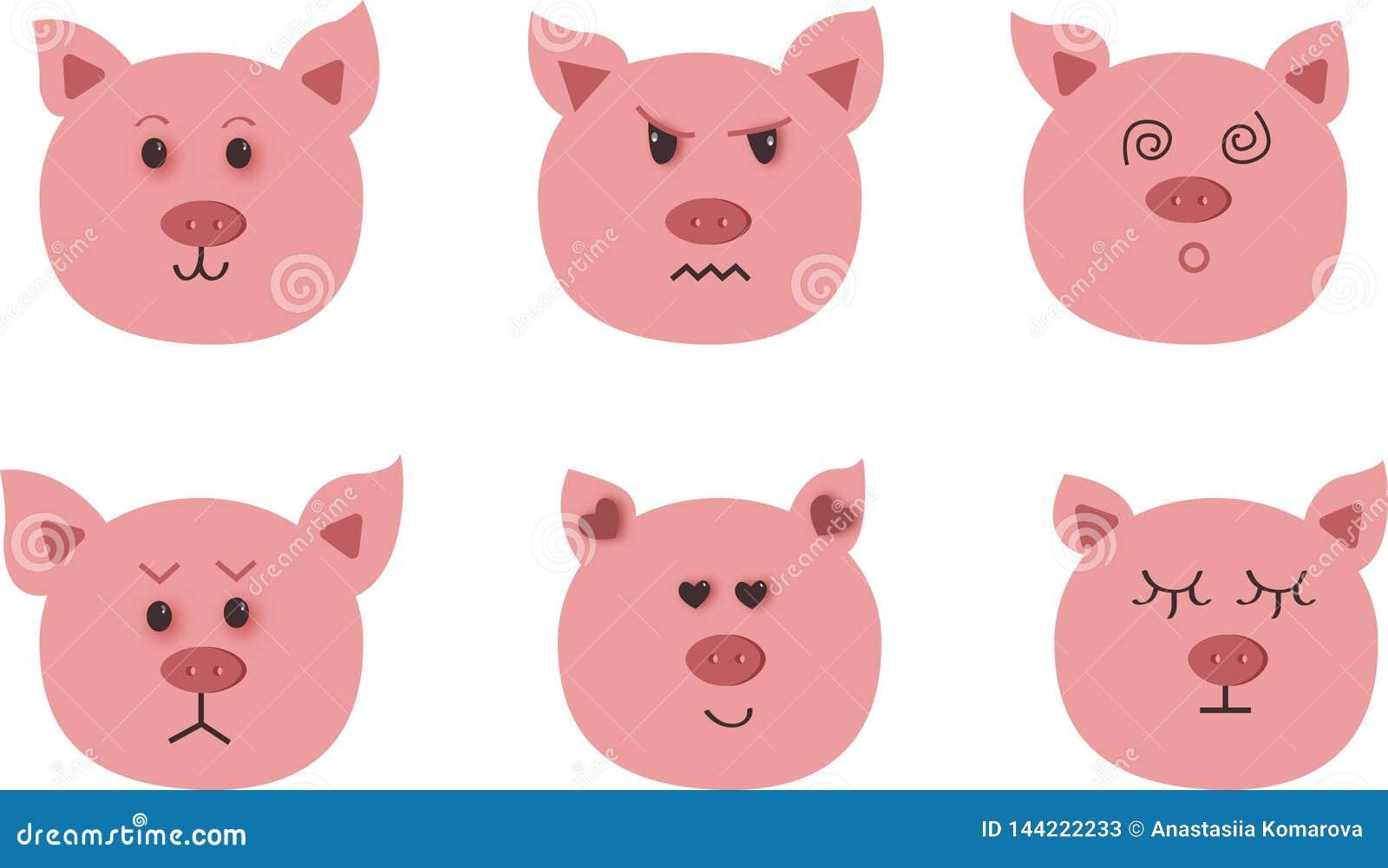 猪手拉的传染媒介艺术  九字符情感:愉快,悲伤,愤怒,爱,惊奇