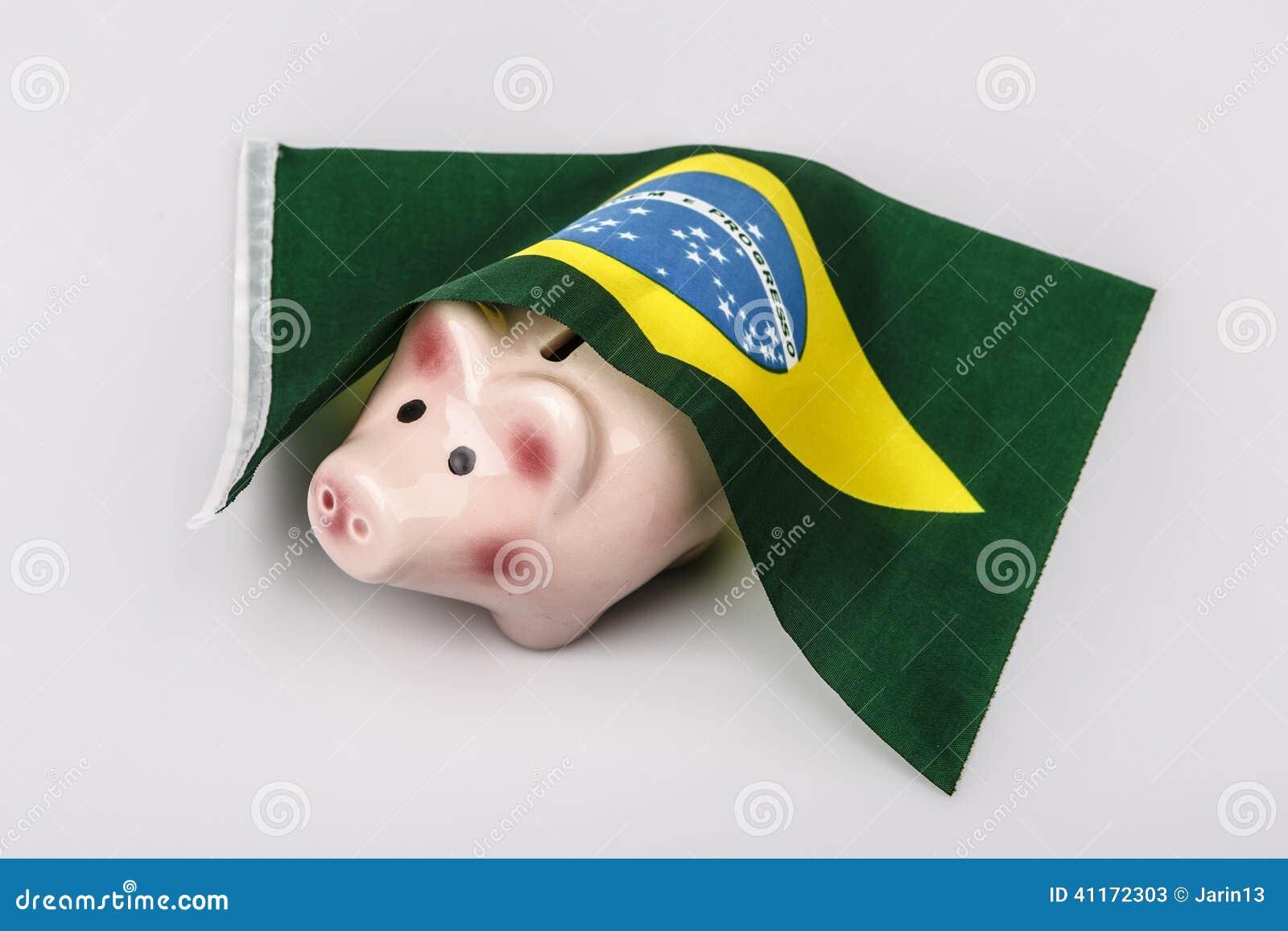 猪钱箱和巴西旗子