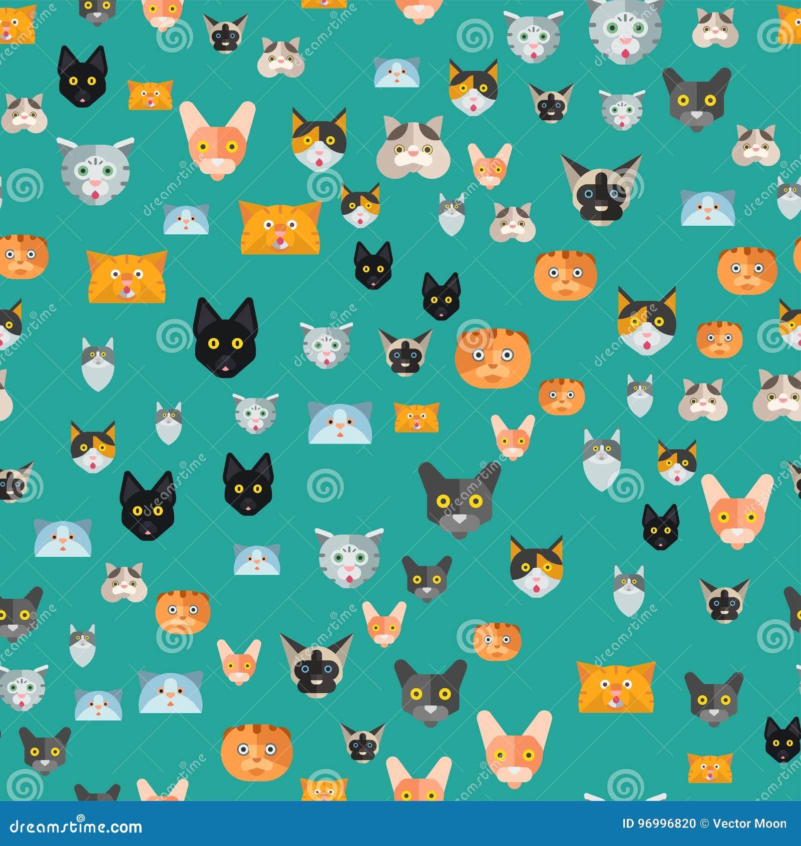 猫传染媒介例证逗人喜爱的动物无缝的样式滑稽的装饰全部赌注字符似猫的家养的时髦宠物
