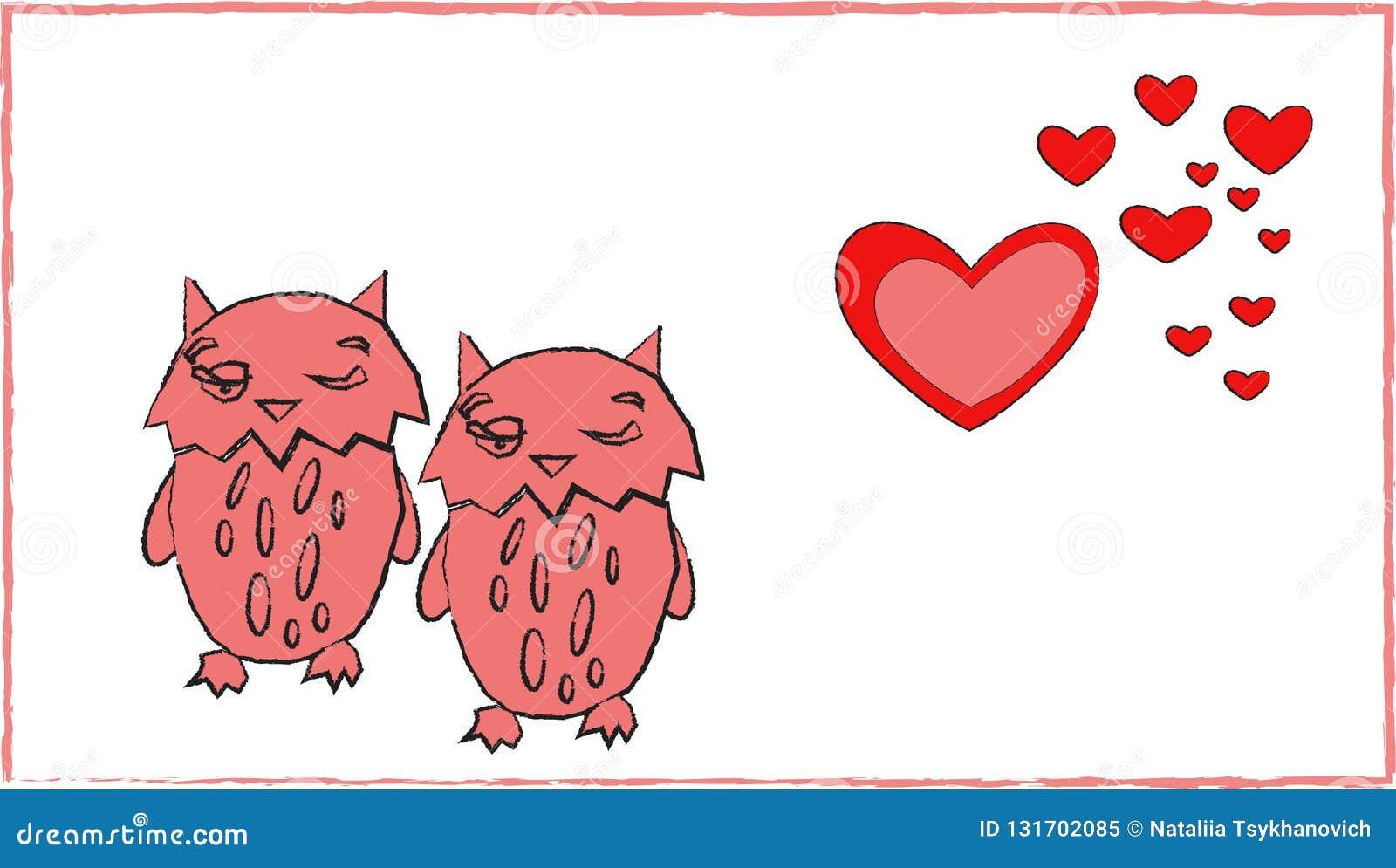 猫头鹰心脏夫妇浪漫史动物艺术爱