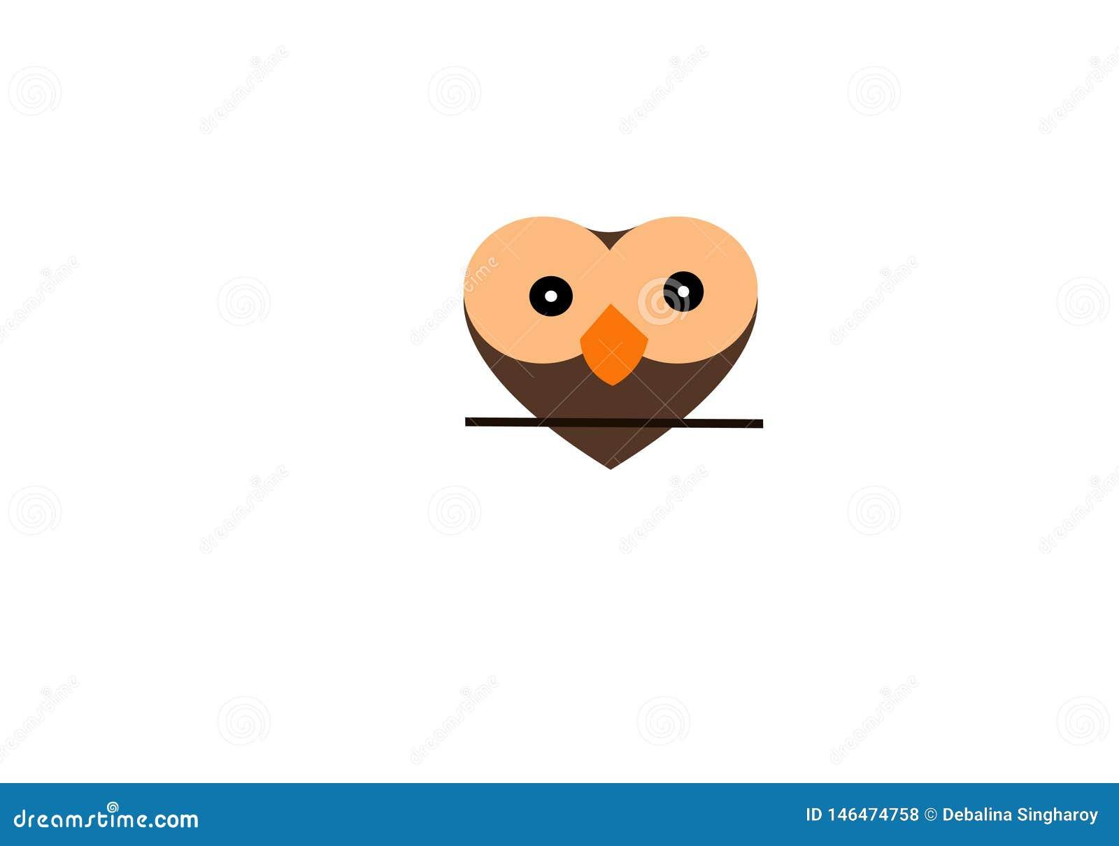 猫头鹰爱商标模板,凉快的彩色插图