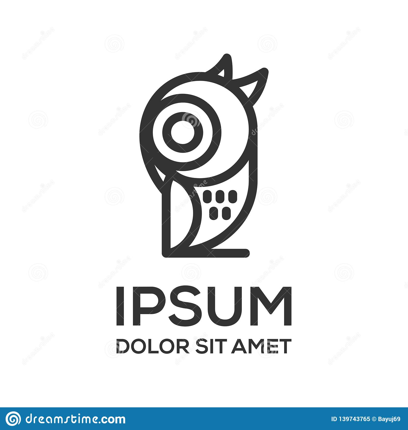 猫头鹰线艺术商标设计模板