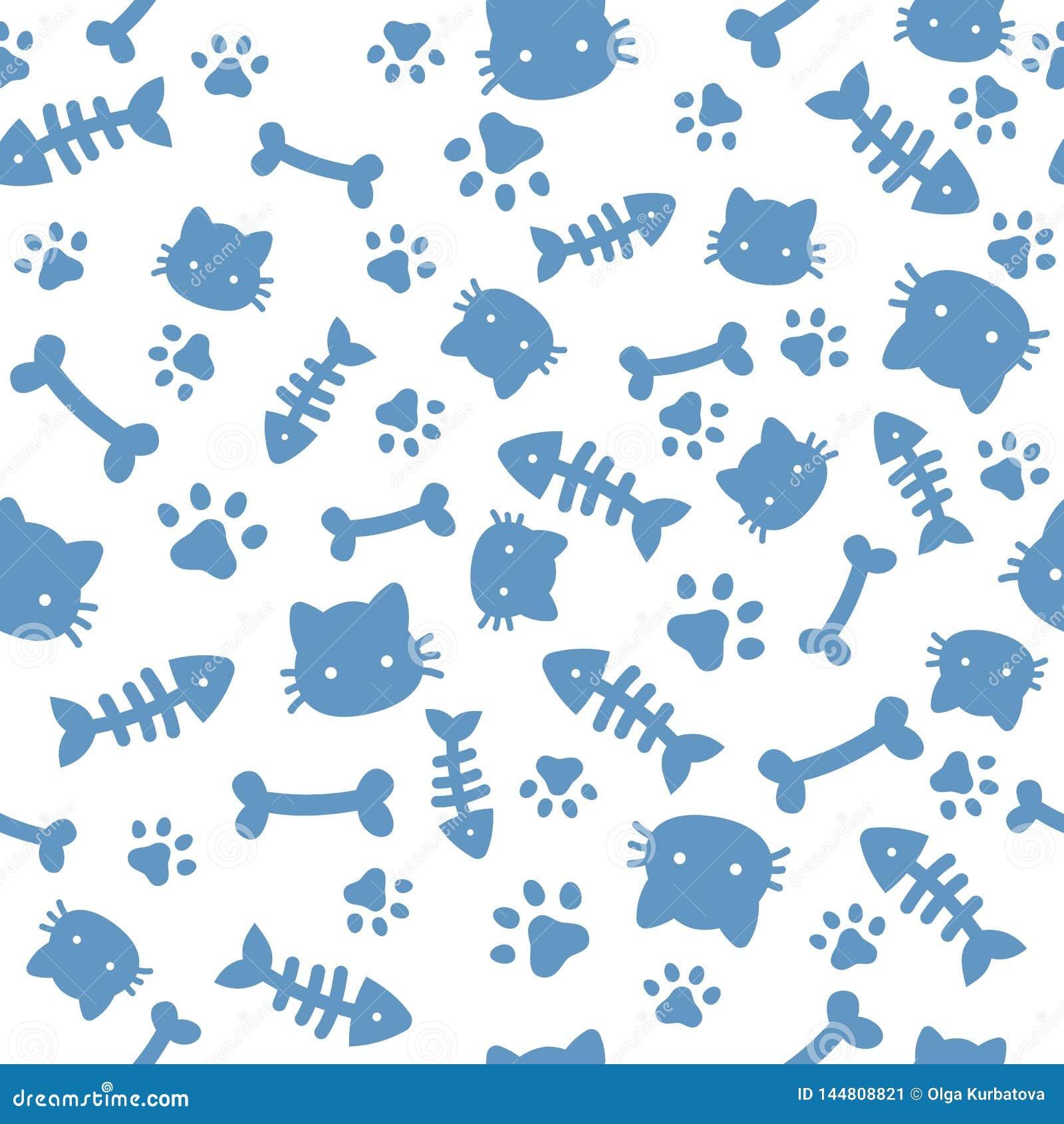 猫男孩样式 蓝色爪子动物脚印和骨头 猫狗爪子贴墙纸,无缝逗人喜爱的小狗宠物动画片的传染媒
