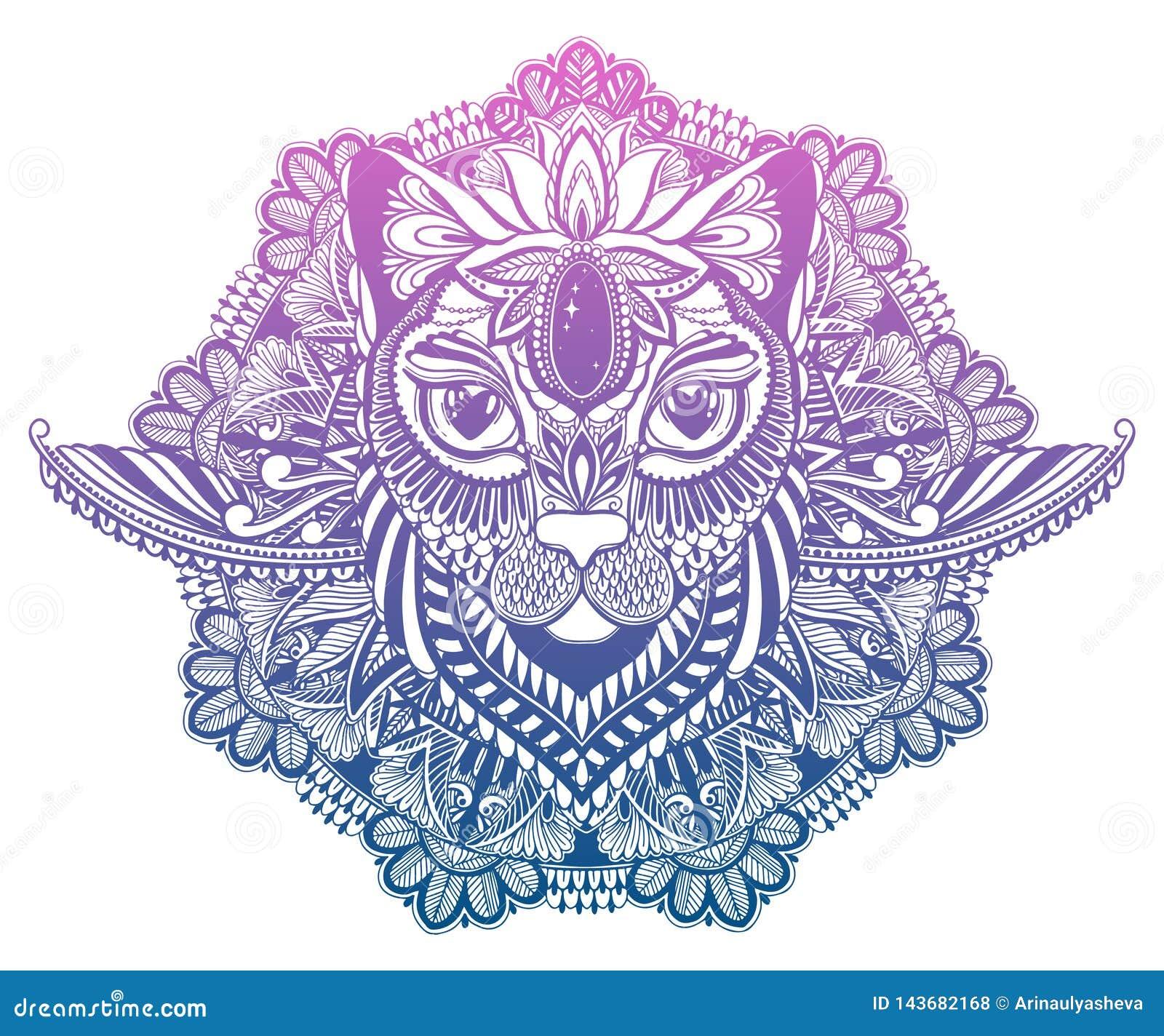 猫神秘主义者和坛场纹身花刺 梯度淡色在白色背景中 装饰图解图画