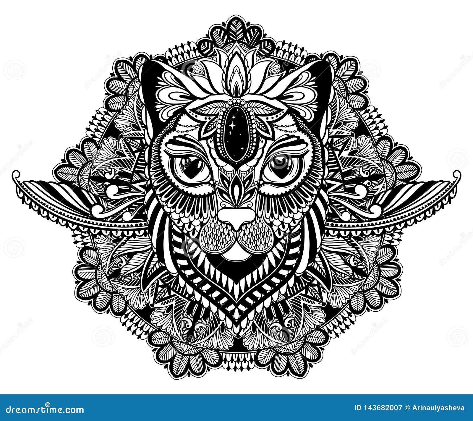 猫神秘主义者和坛场纹身花刺 黑色在白色背景中 装饰图解图画 被隔绝的设计标志