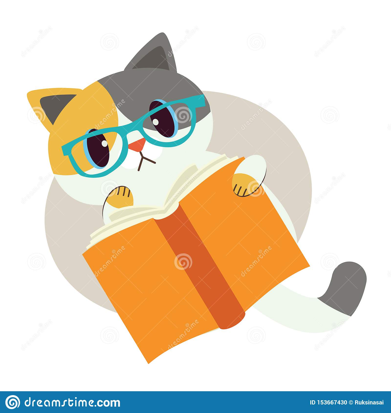猫逗人喜爱的字符与书的 猫戴眼睛眼镜 读书的猫 猫神色混淆 由我的自已的研究 ??