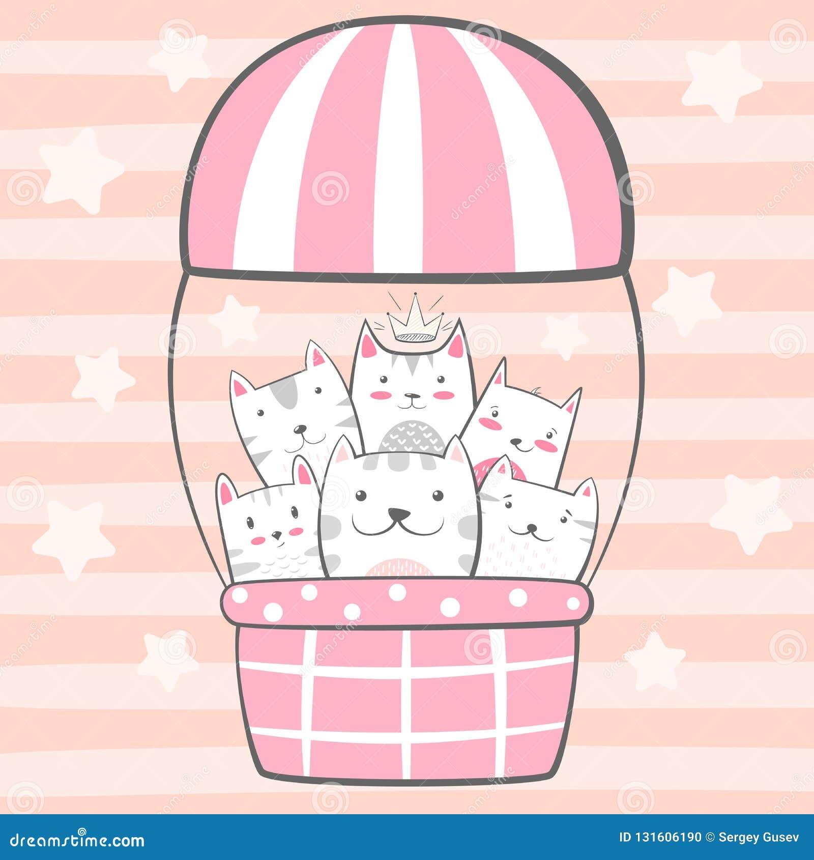 猫,全部赌注字符 气球例证