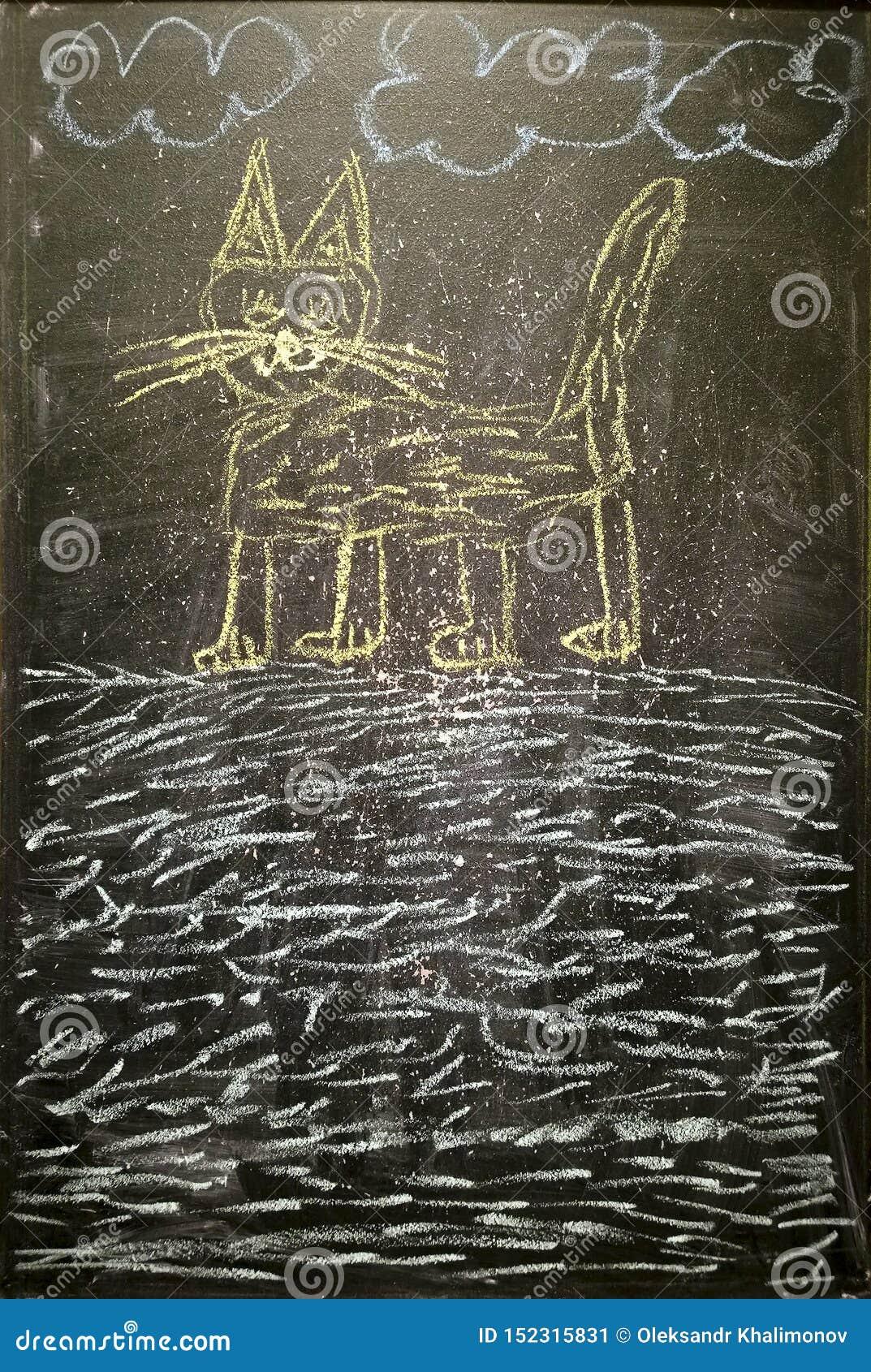 猫-粉笔画