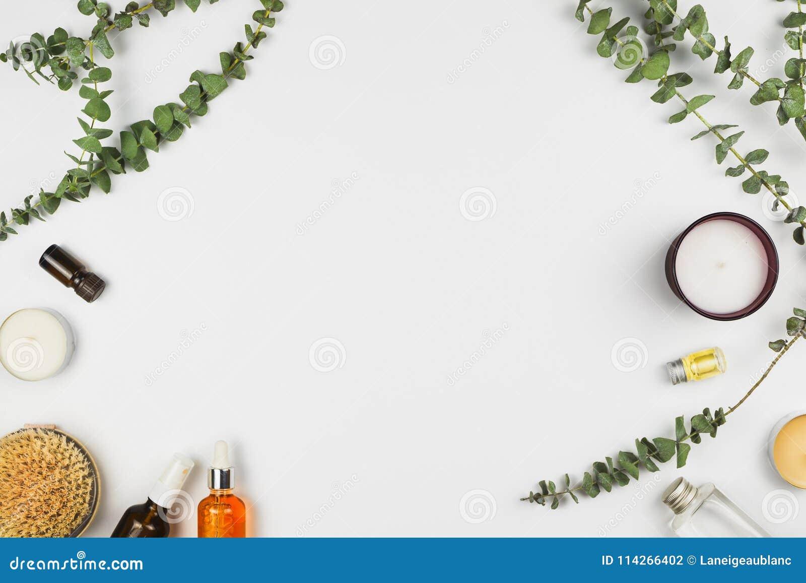 玉树分支、蜡烛、精油、身体刷子和各种各样的美容品