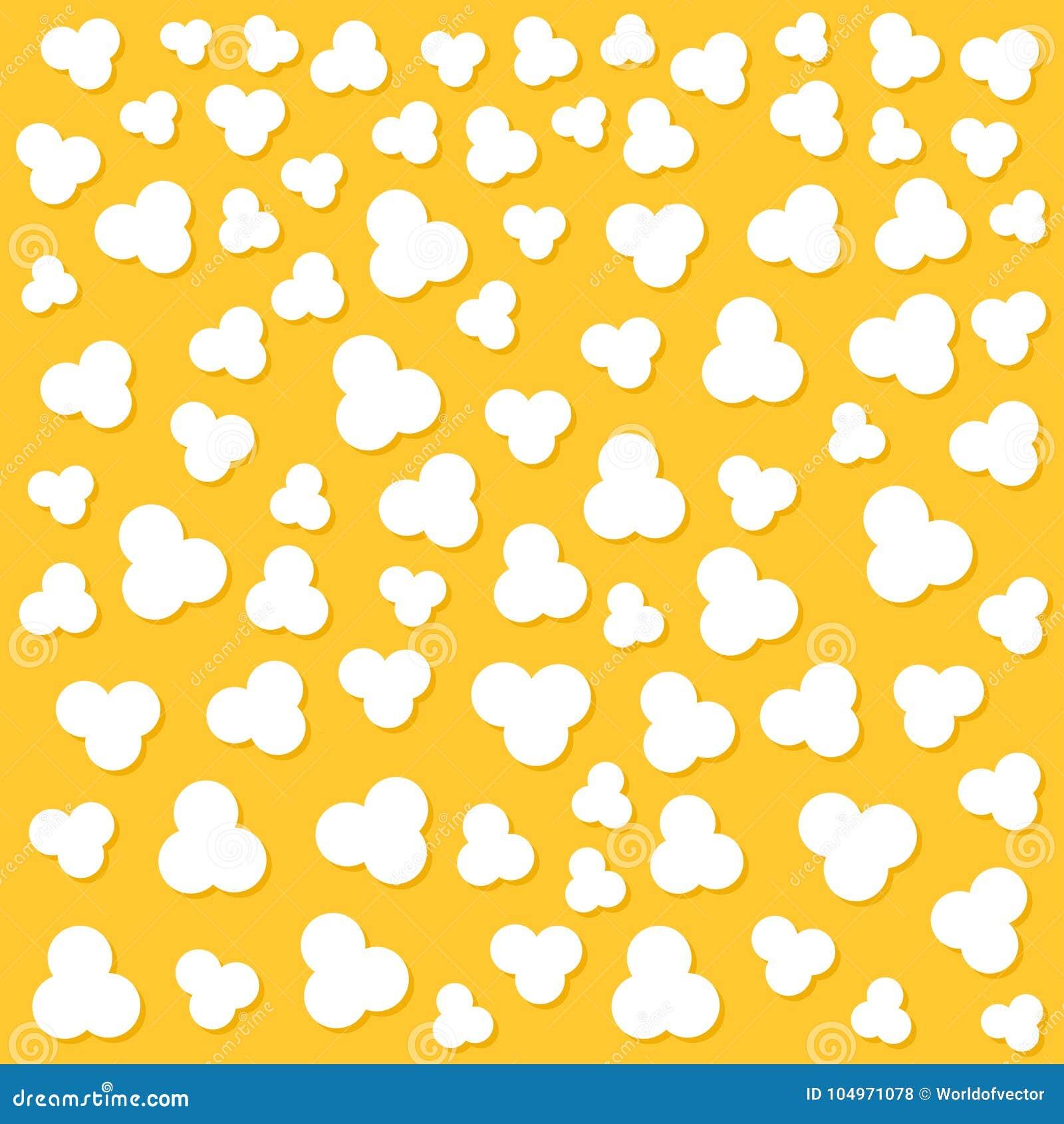 玉米花流行 顶面空气视图 戏院电影之夜标志标志 鲜美食物 平的设计样式 黄色背景