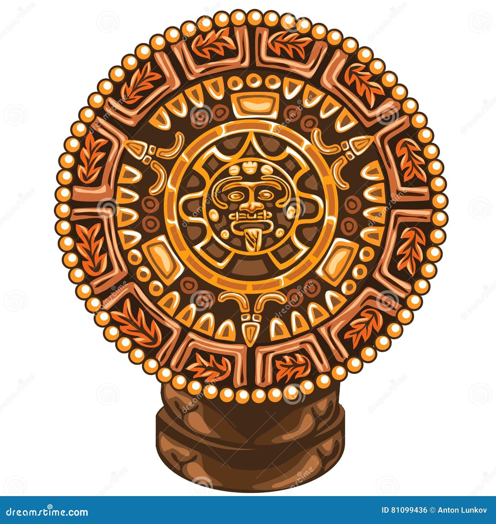 玛雅人古老日历在白色背景的