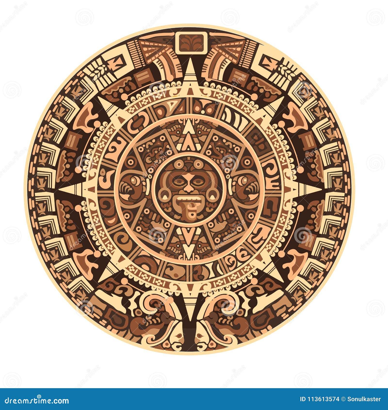 玛雅或阿兹台克传染媒介象形文字标志和标志玛雅人日历