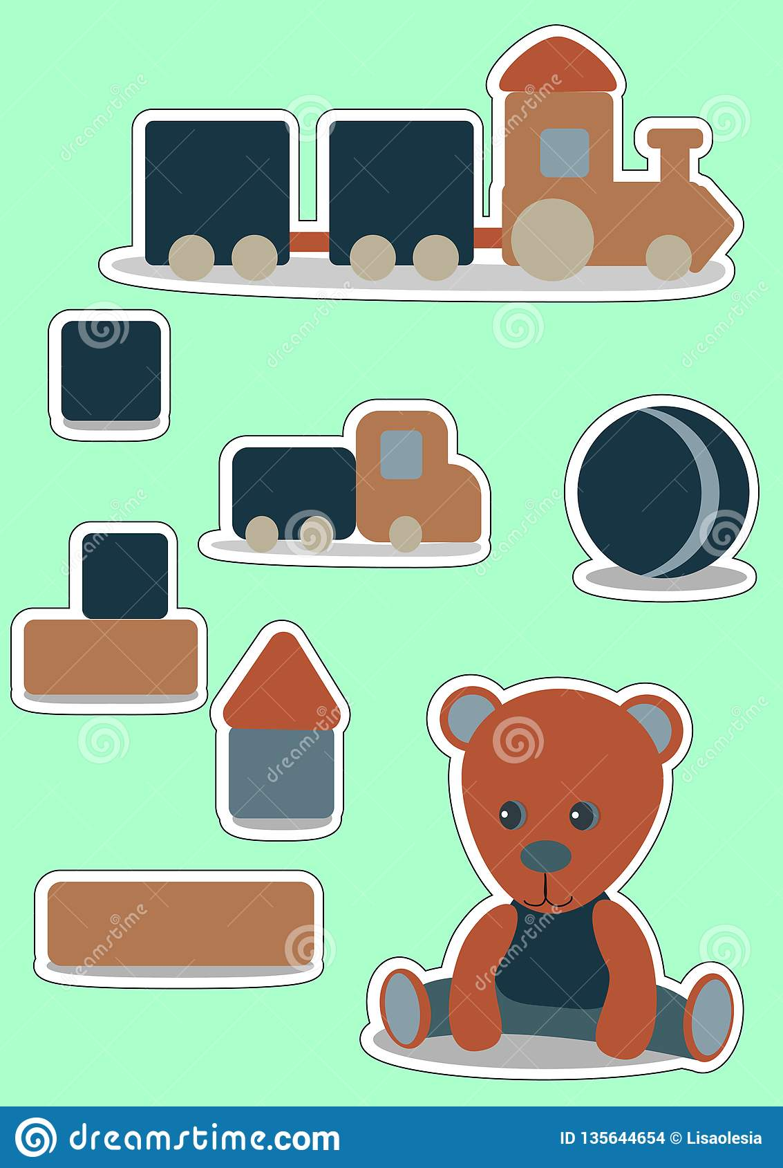 玩具熊男孩的集合贴纸 戏弄木 标签的,价牌,横幅,小块笔记传染媒介例证