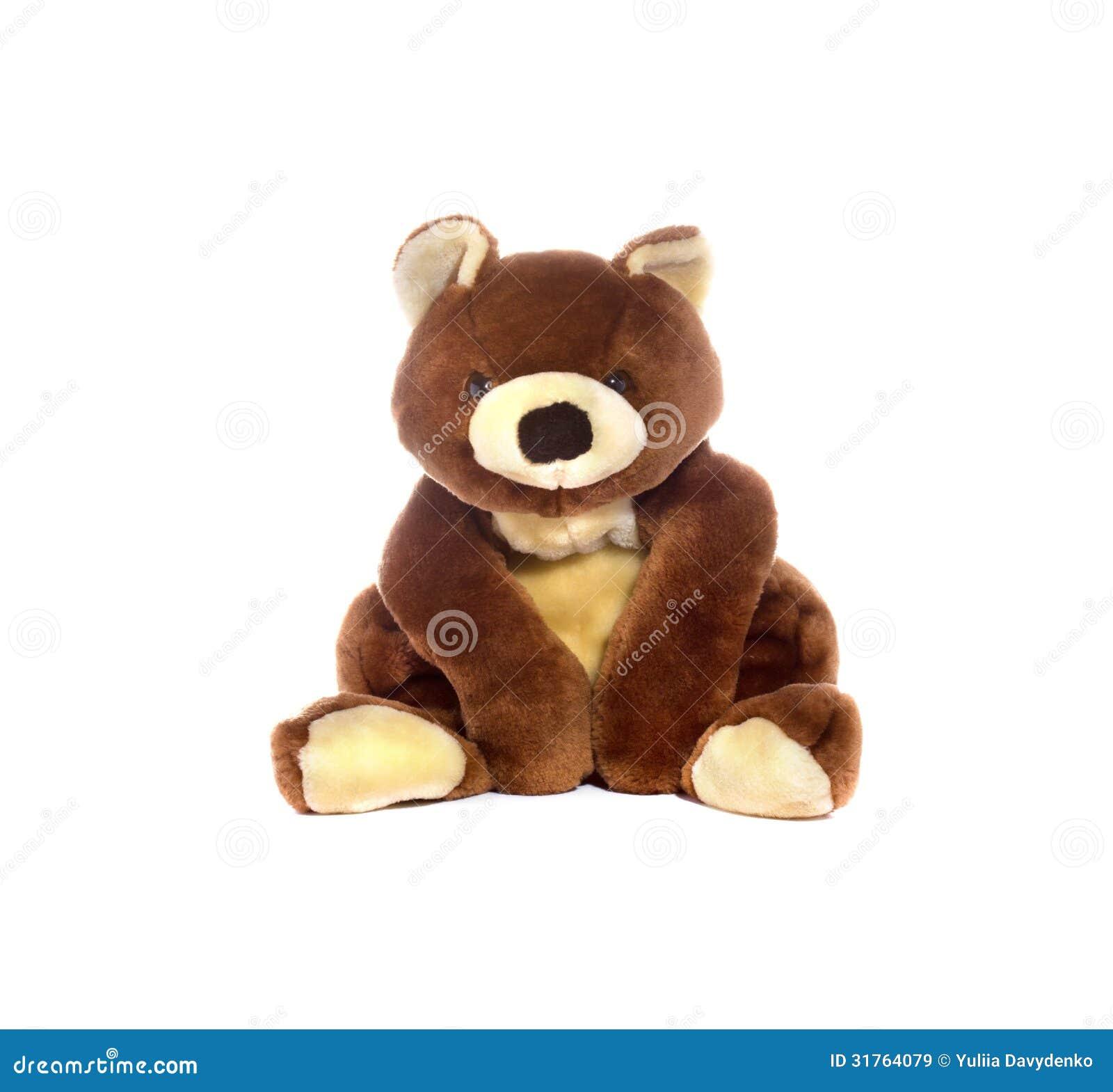 在白色背景隔绝的经典玩具熊.图片