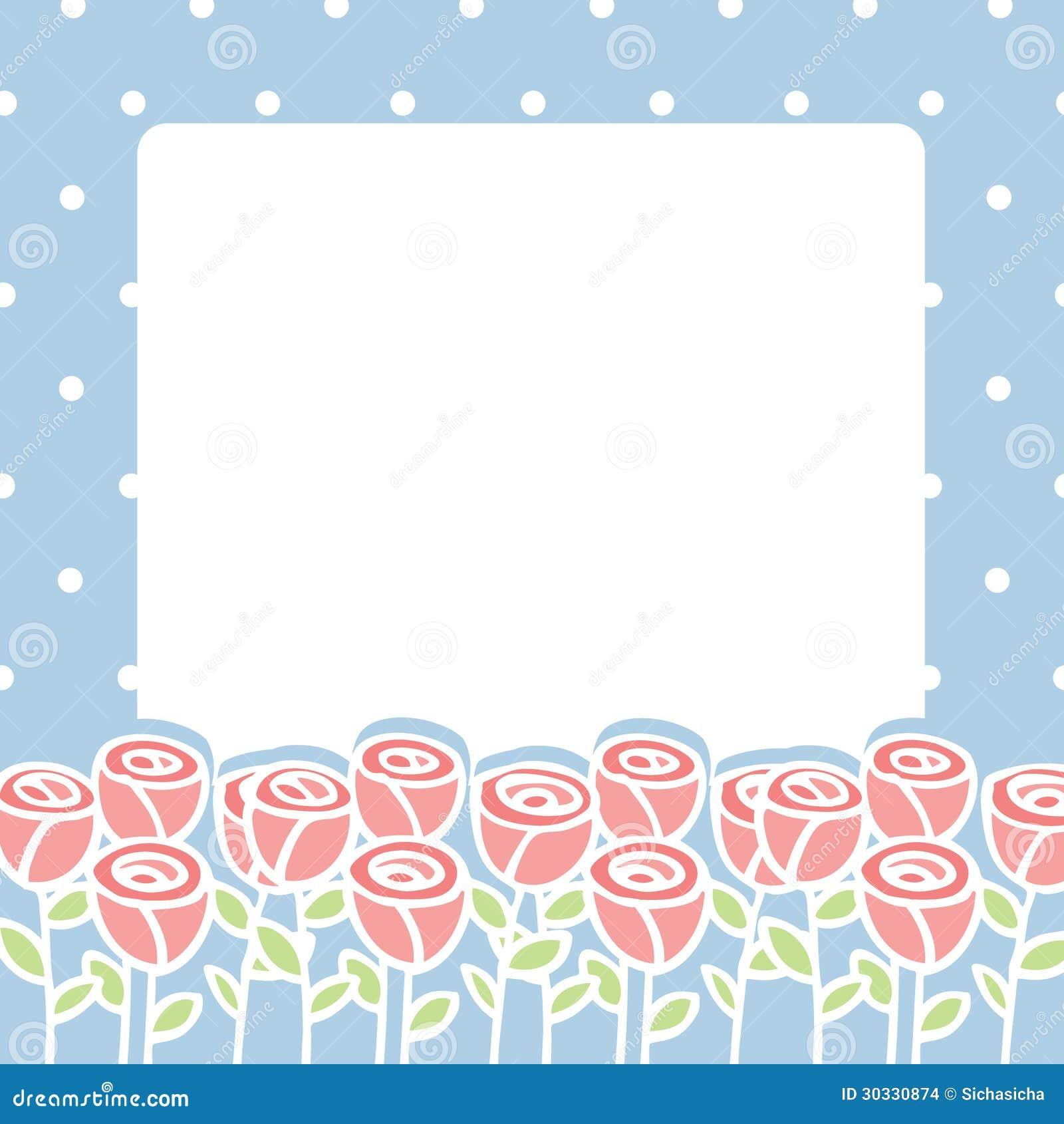 玫瑰色花框架在空的空间背景的