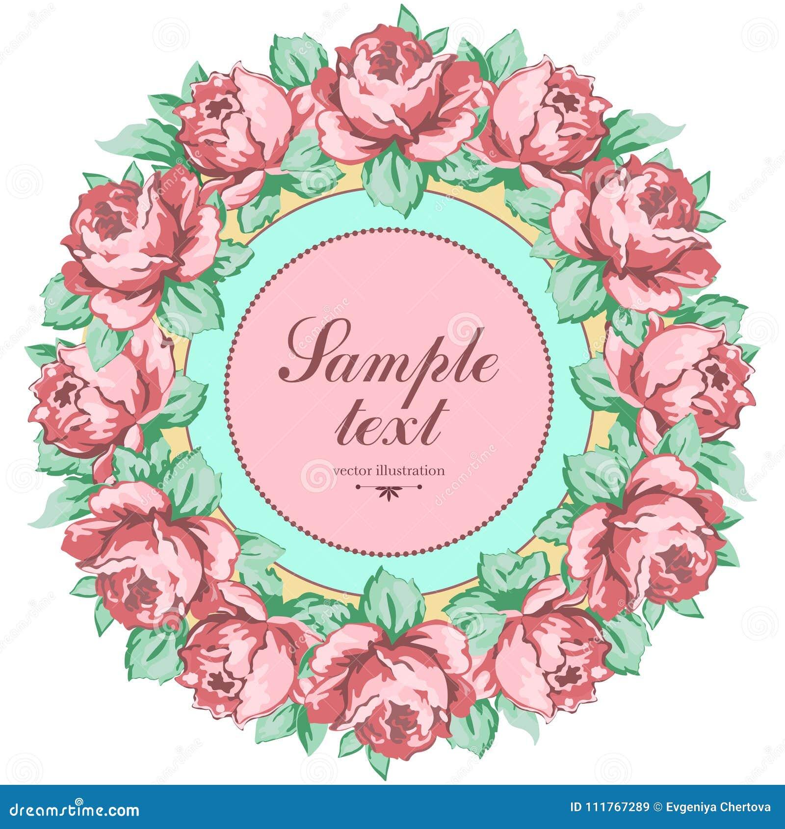 玫瑰色花花圈,导航花卉背景,圆的花框架,边界 拉长的芽桃红色玫瑰花和叶子手