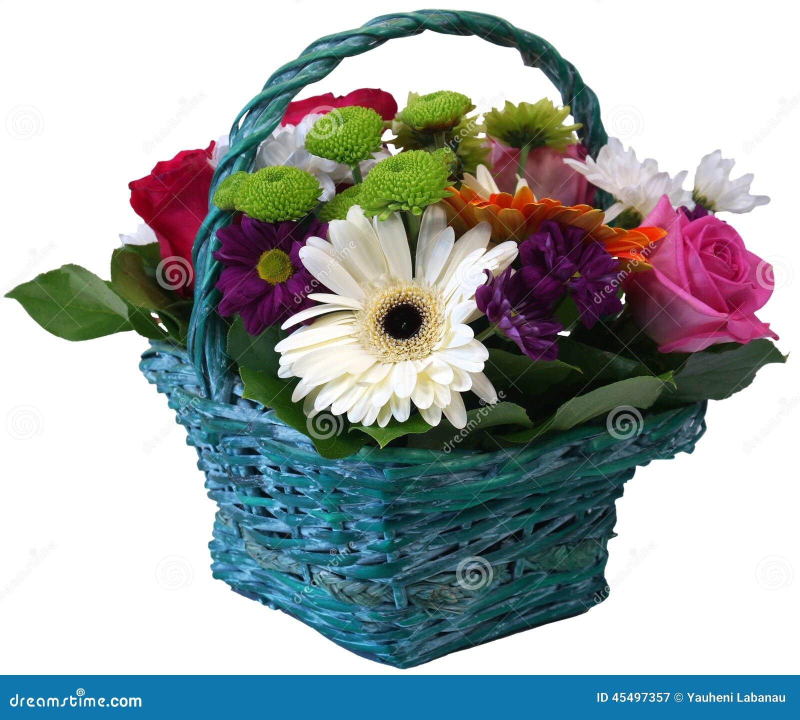 玫瑰菊花和大丁草花篮子