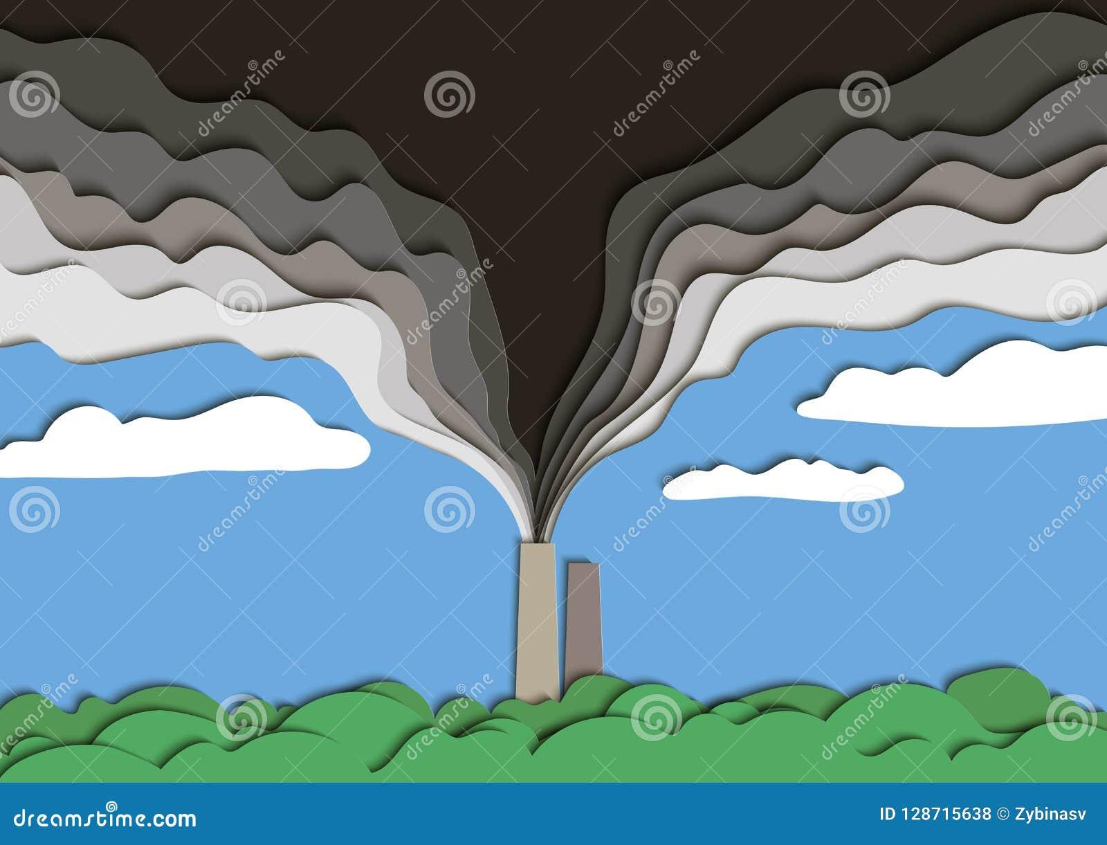 环境污染的例证 从工厂管子的被毒害的烟污染空气 向量