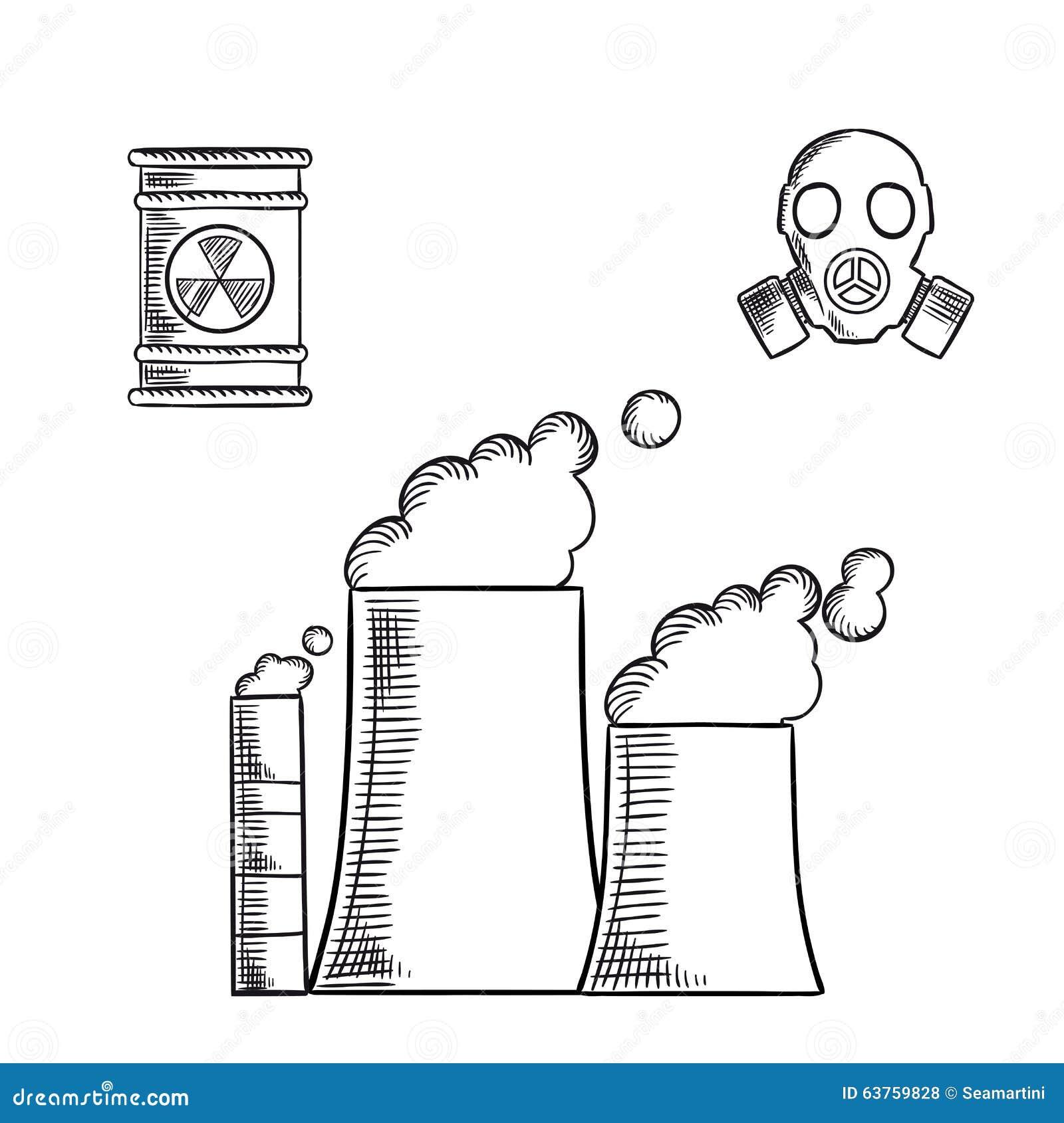 破坏和环境污染速写与发怒的烟囱的象和工业管子化学制品或能源厂,与