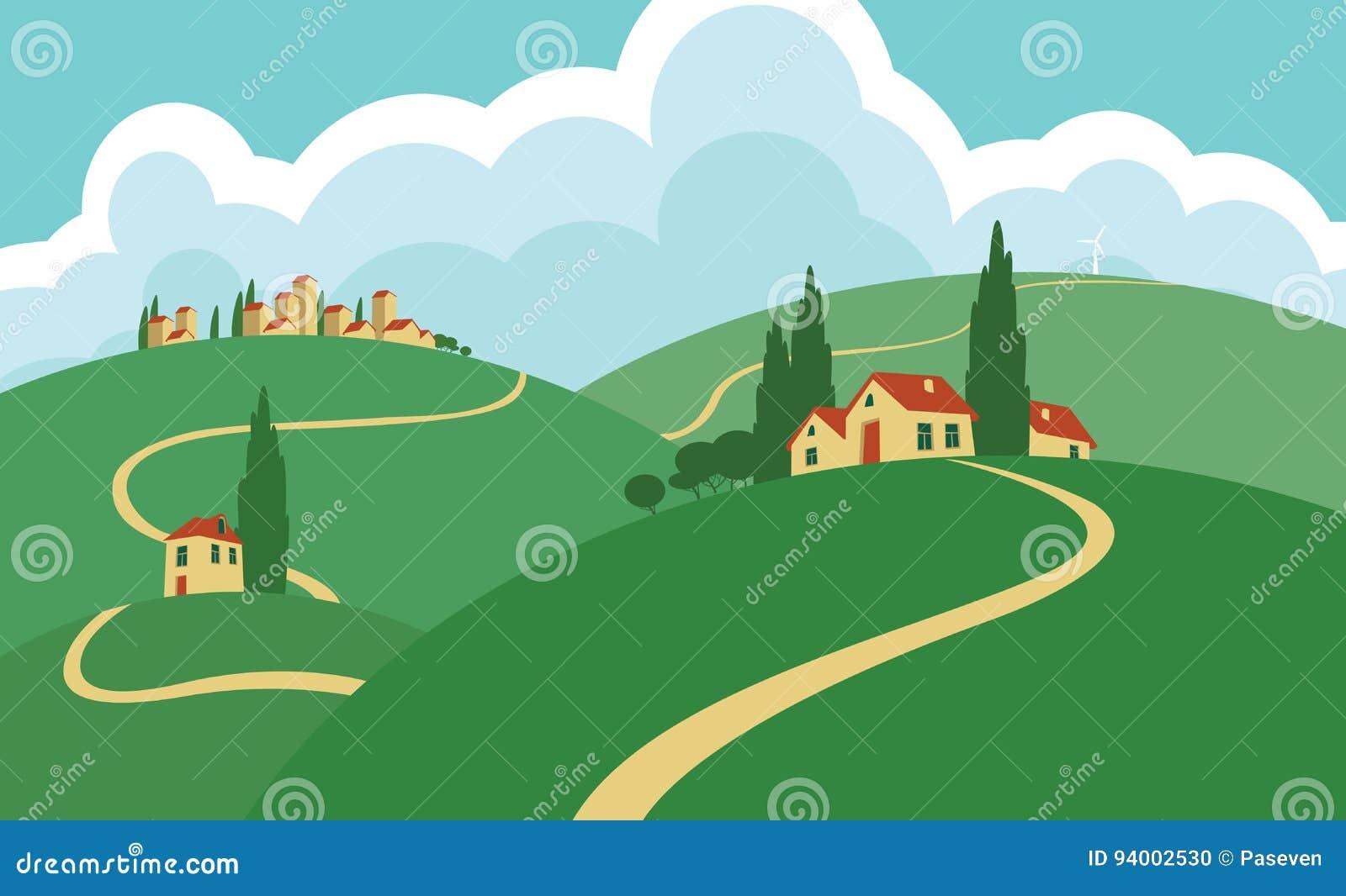 环境美化与小山、路、天空和解决