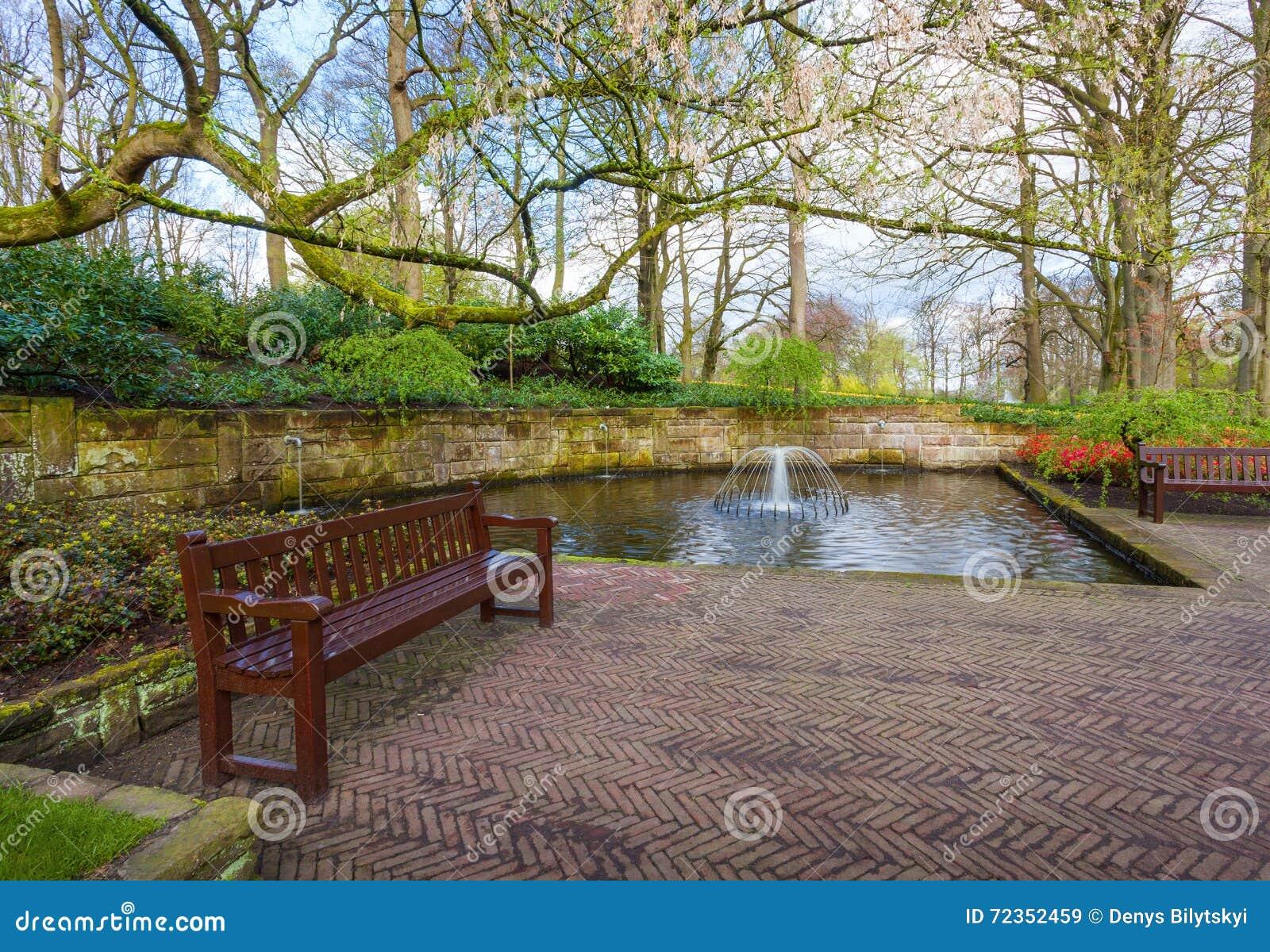环境美化与长木凳在春天Keukenhof公园