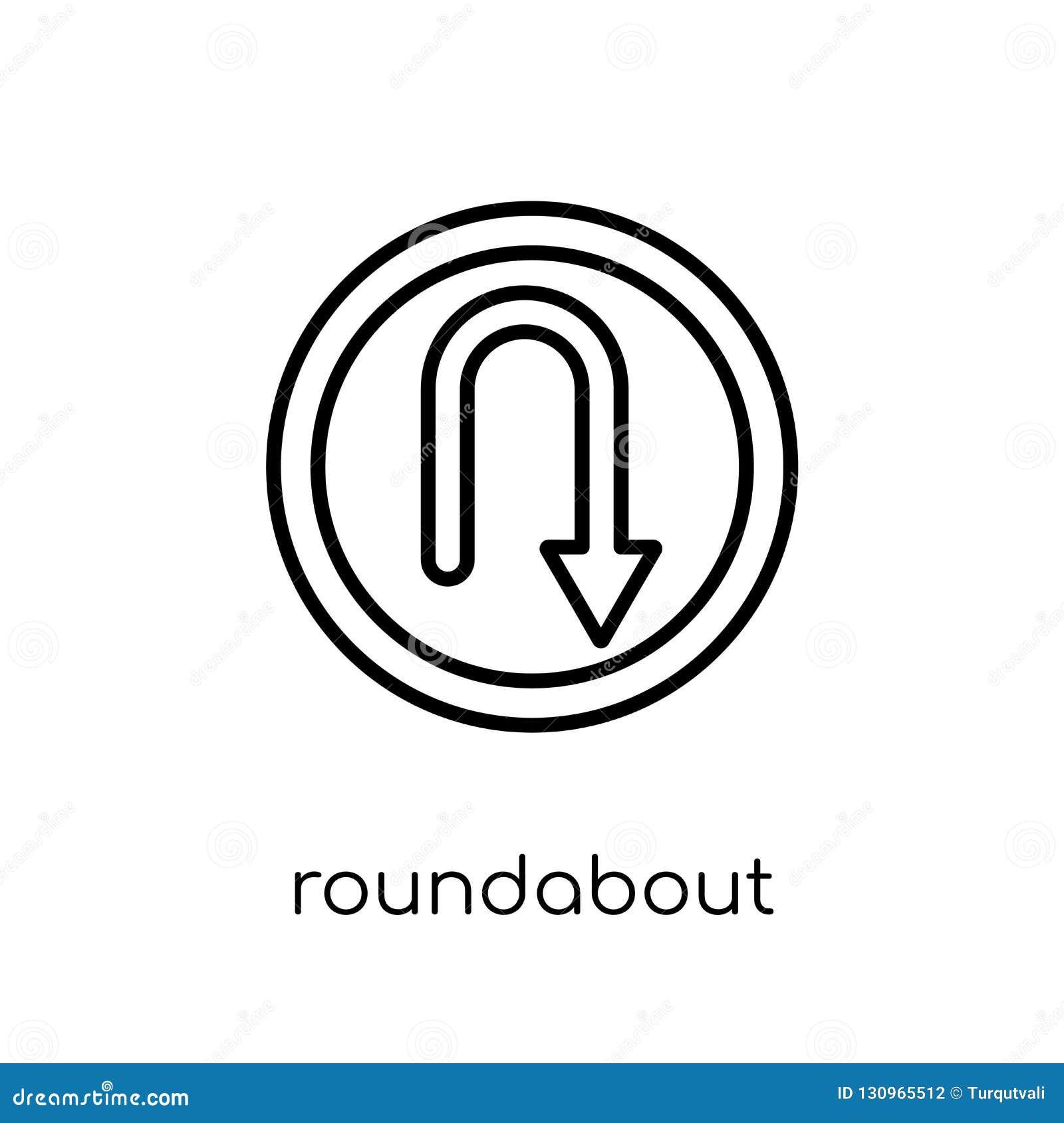 环形交通枢纽标志象 时髦现代平的线性传染媒介Roundabou