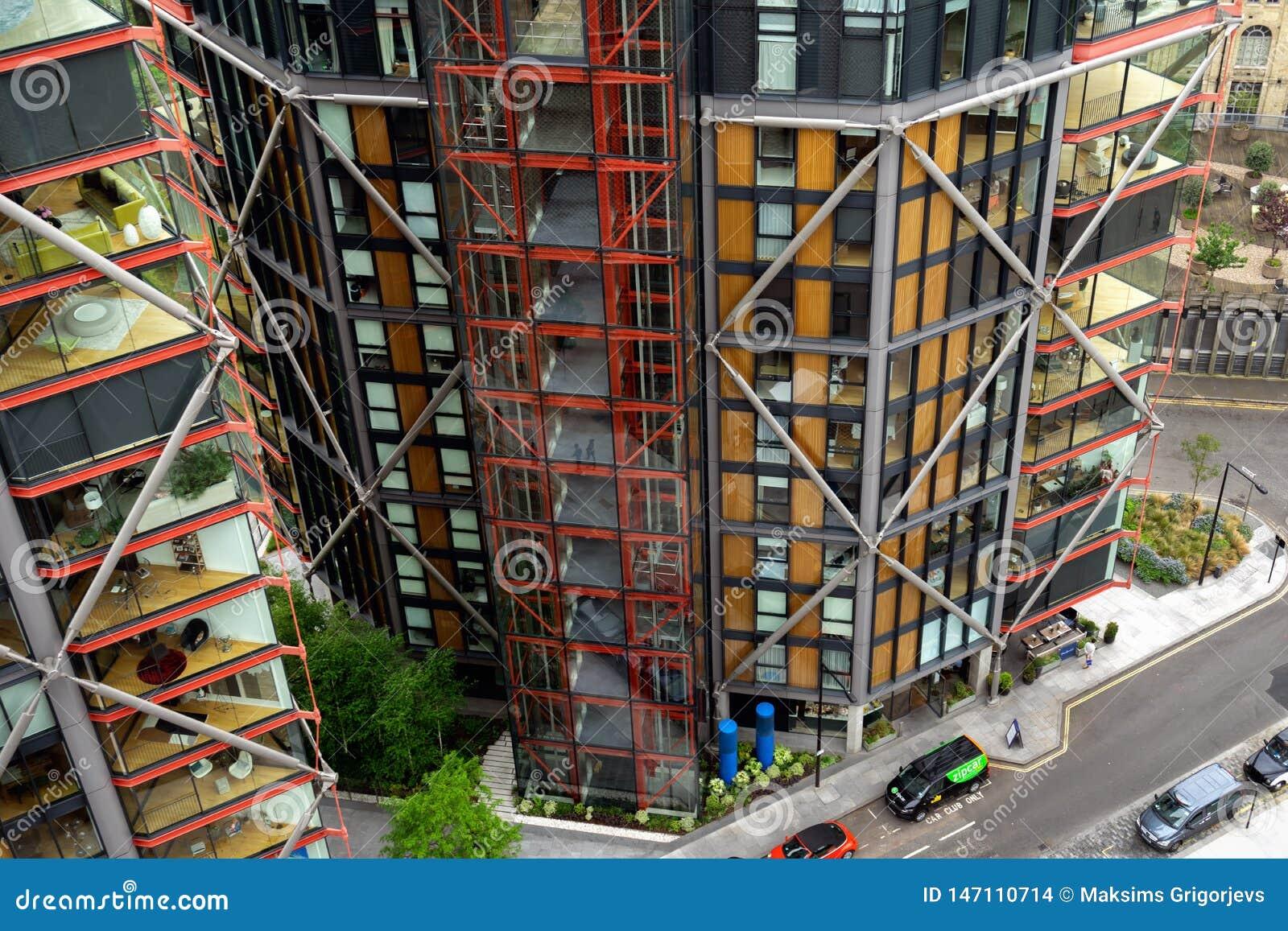 现代住房,住宅摩天大楼在伦敦,英国,2018年5月21日