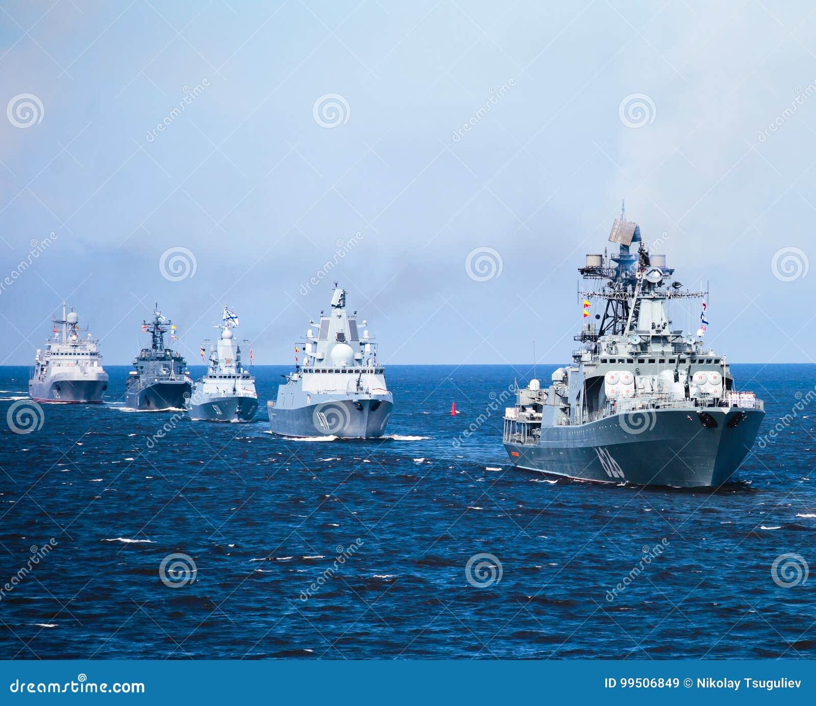 现代俄国军用海军战舰军舰线在行、北舰队和波罗的海舰队的在公海